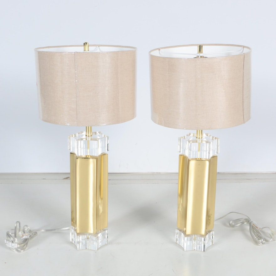 Pair of contemporary brass and acrylic table lamps ebth pair of contemporary brass and acrylic table lamps aloadofball Image collections
