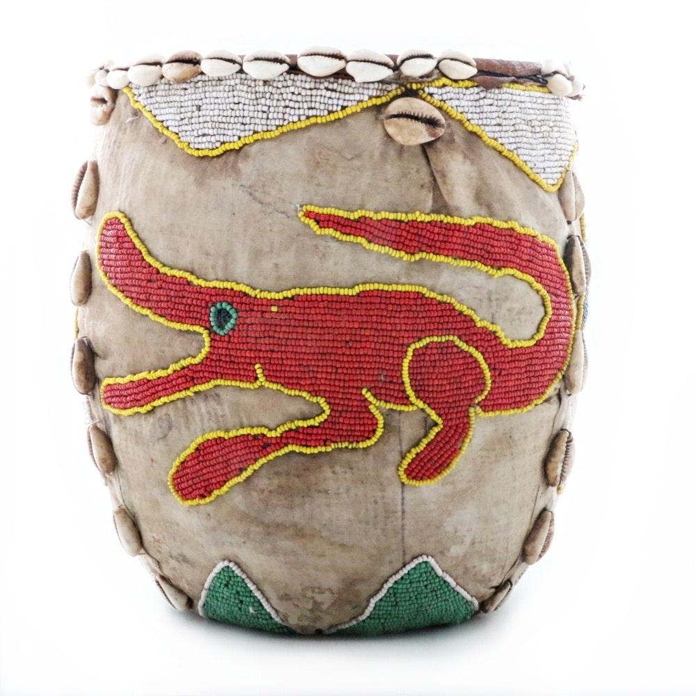 Vintage Yoruba African Beaded Raffia Woven Basket