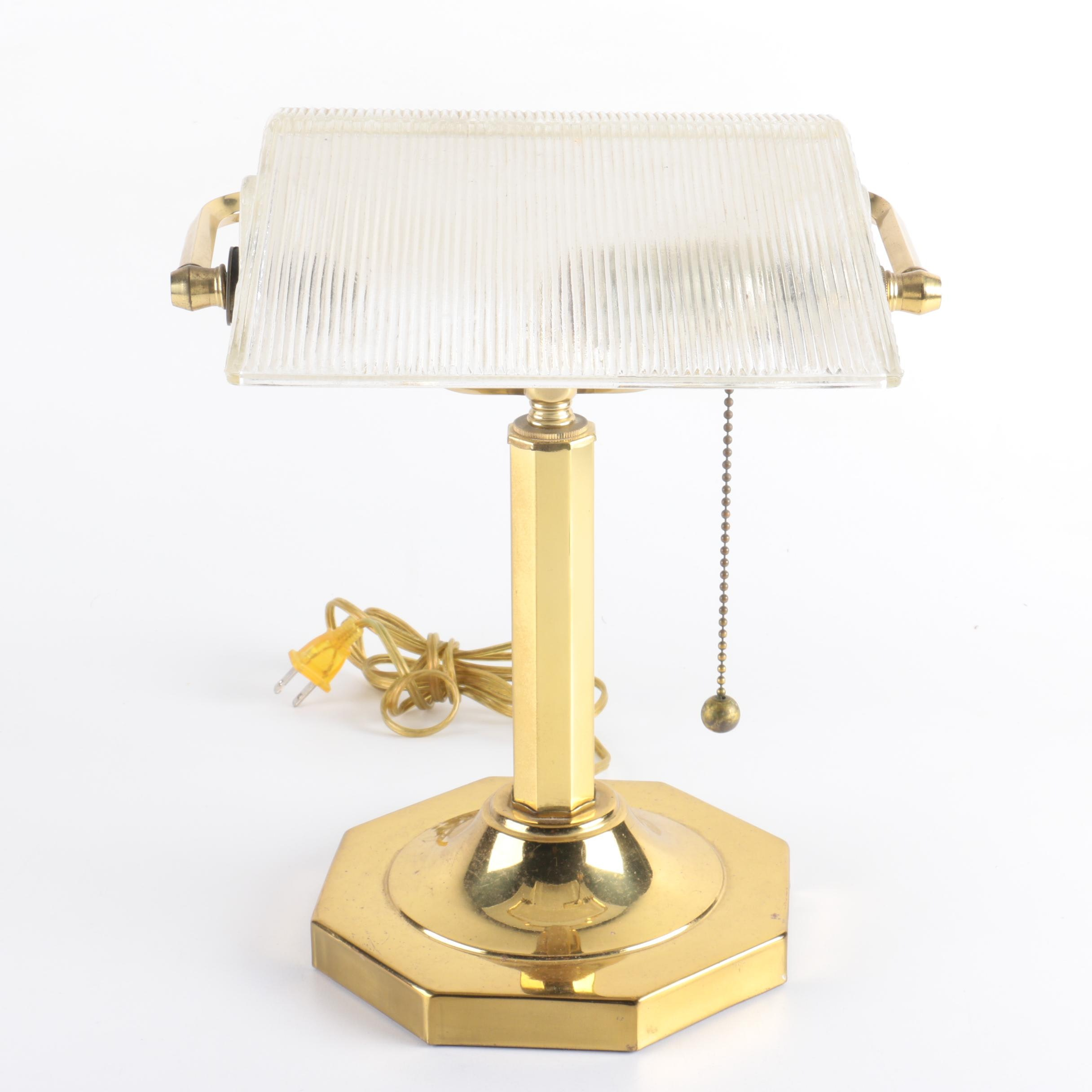 Vintage Clear Ribbed Glass and Brass Banker's Desk Lamp