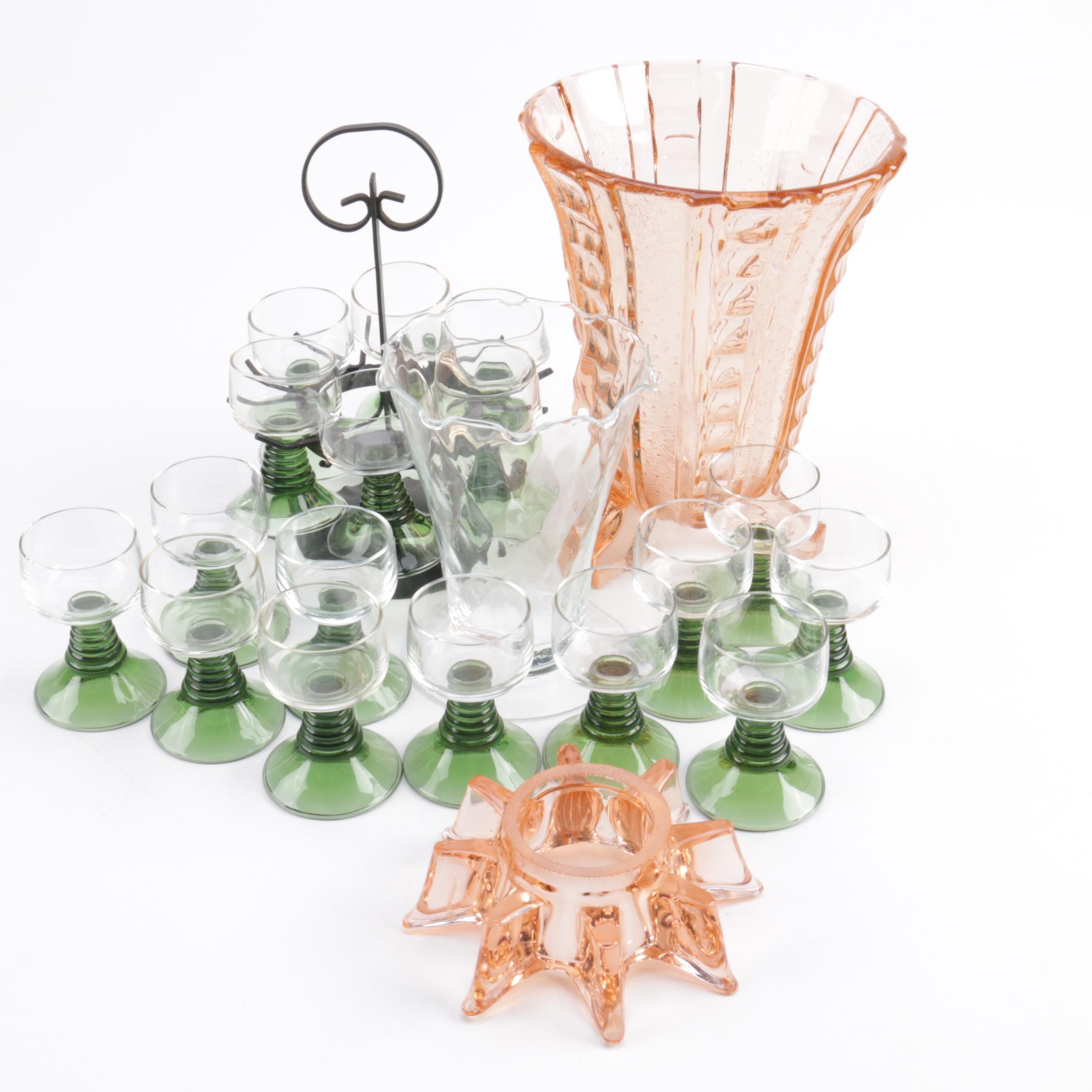 German Roemer Stemware and Depression Glass Tableware