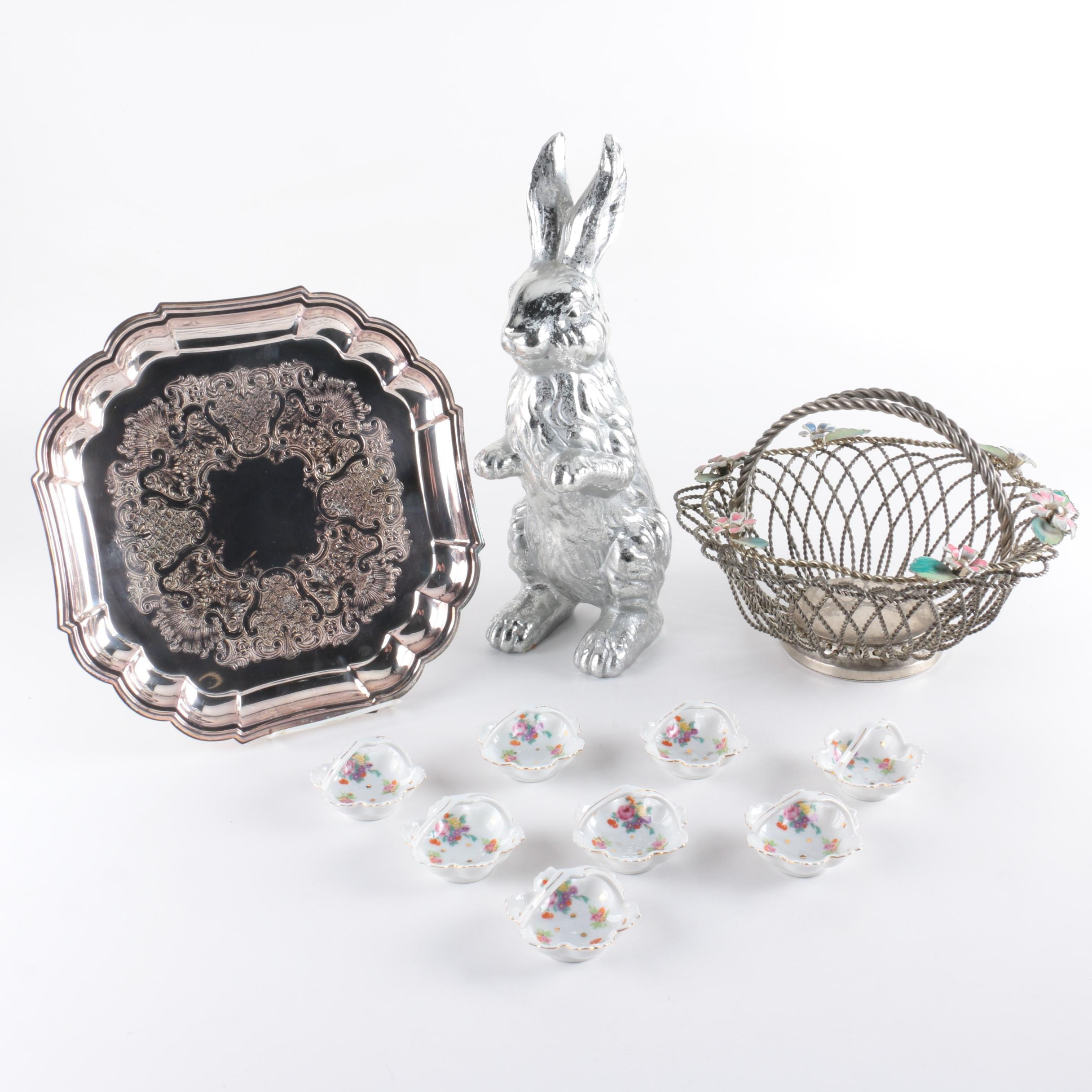 """Gorham """"Heritage"""" Silver Plate Tray and Assorted Spring Decor"""