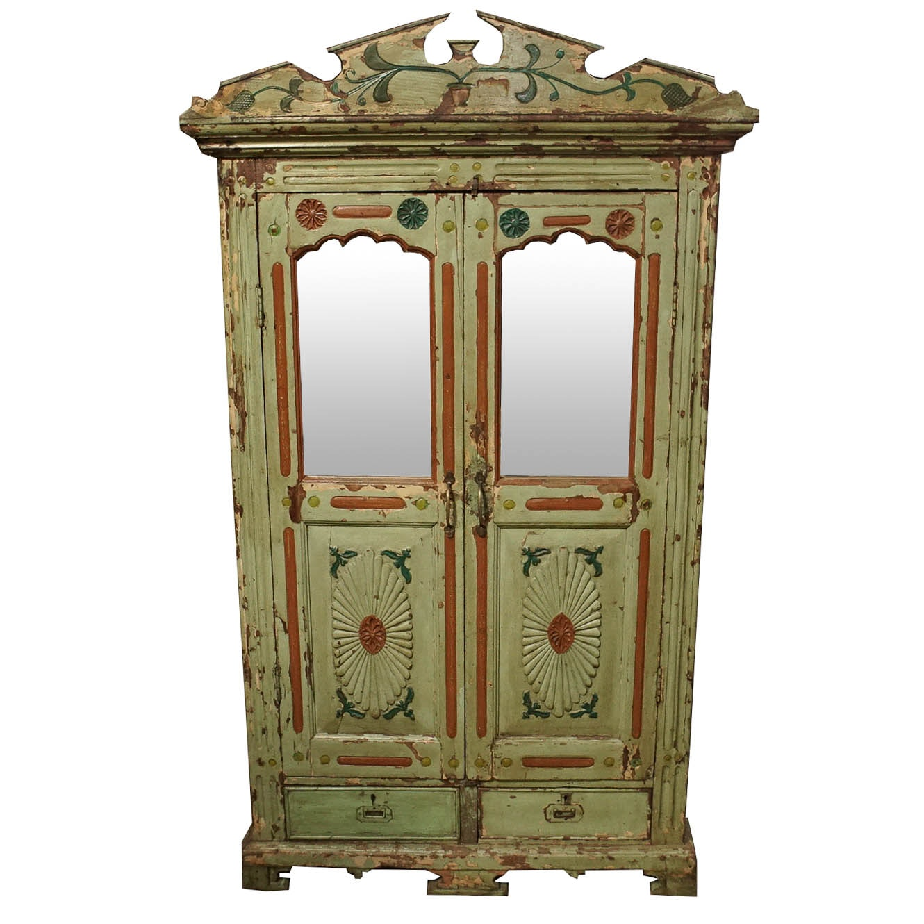 Antique British Colonial Painted Wardrobe