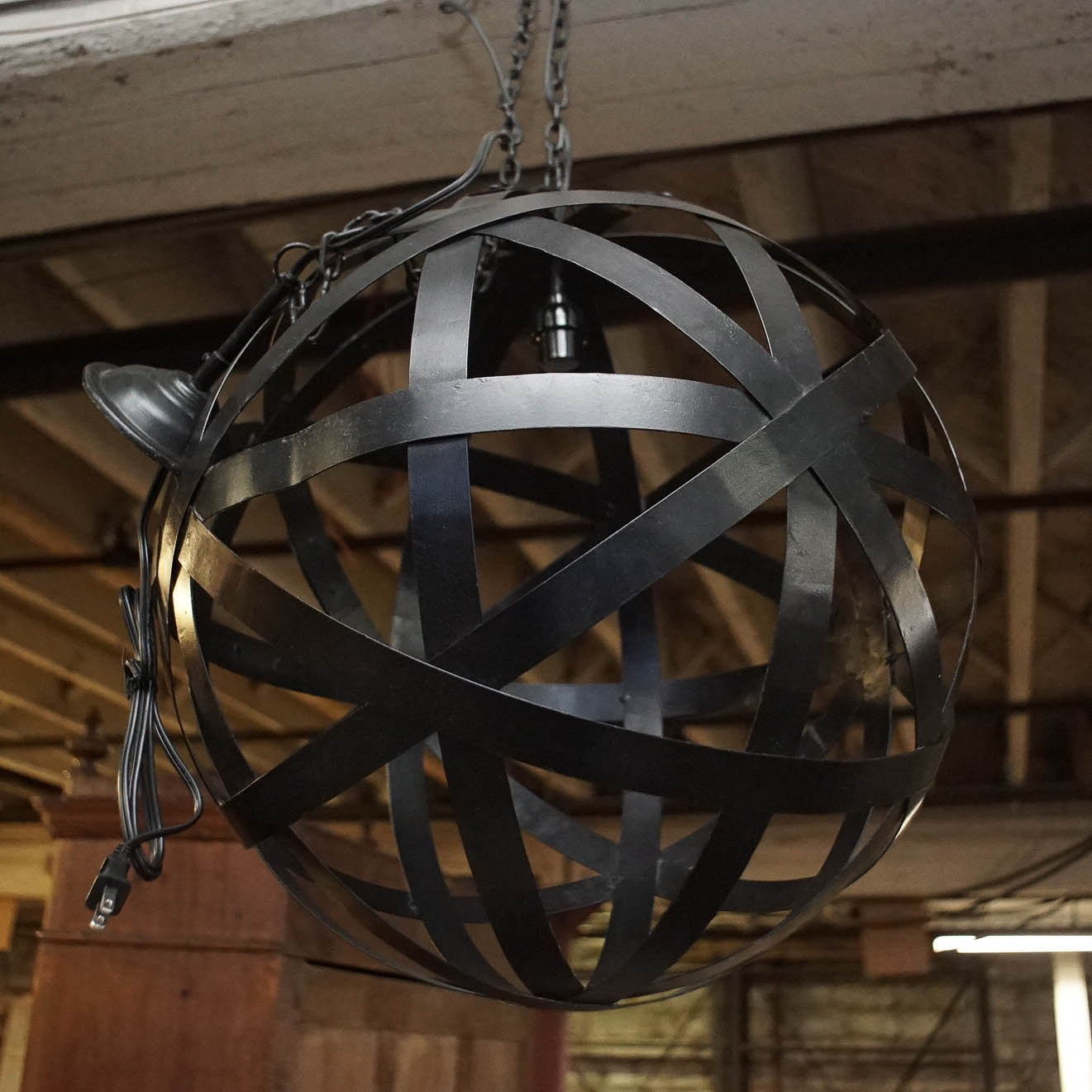 Orb Shaped Metal Chandelier