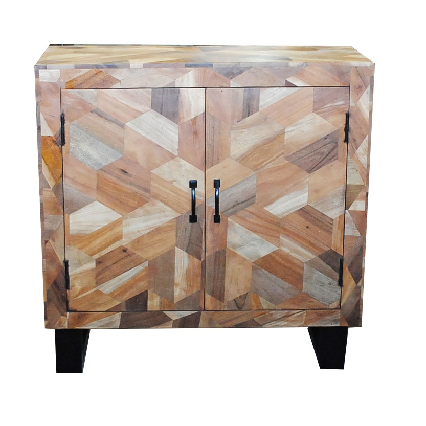 Mixed Wood Cabinet with Parquetry Veneers