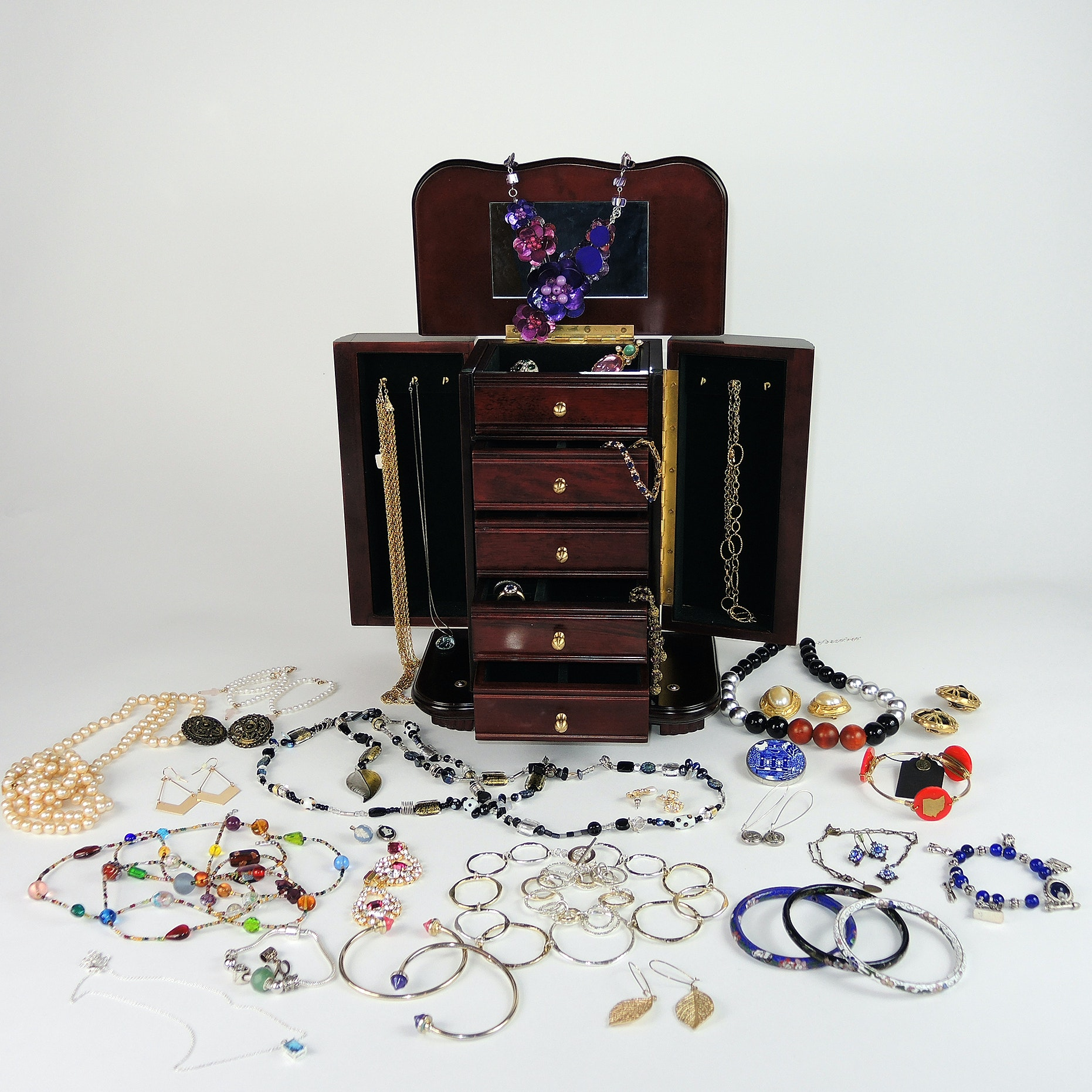 Tabletop Jewelry Box And Assorted Costume Jewelry ...