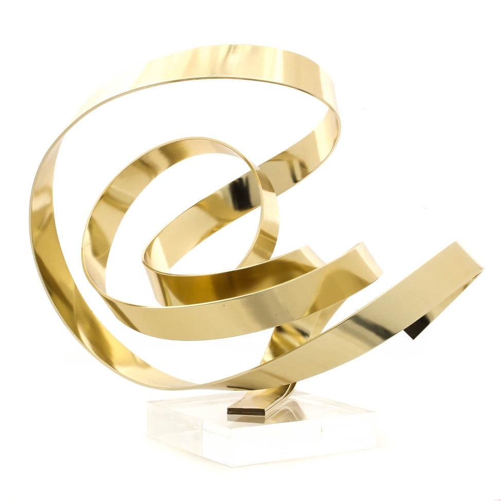 Dan Murphy Bent Brass Abstract Sculpture