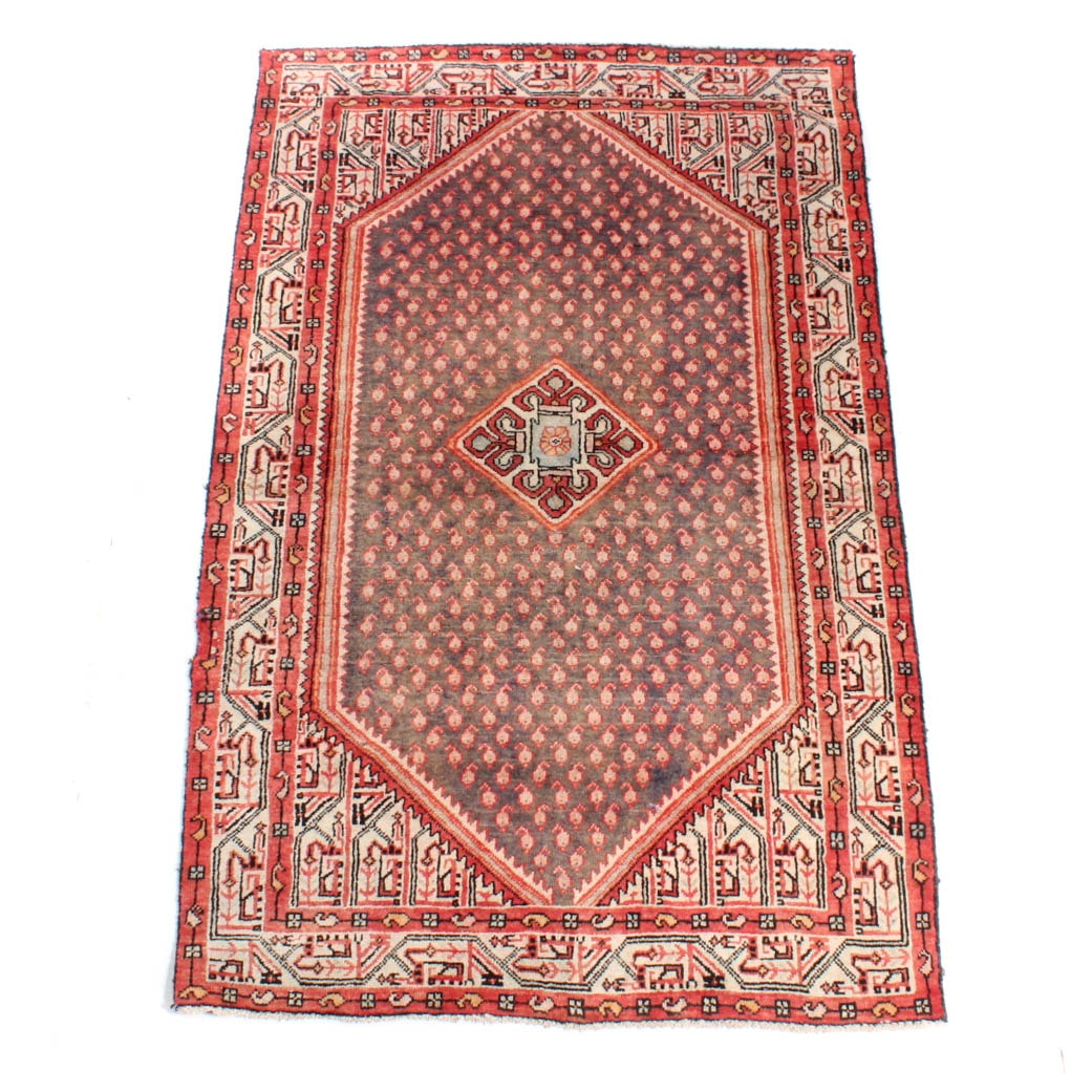 Hand Knotted Persian Mir-a-Boteh Sarouk Wool Area Rug