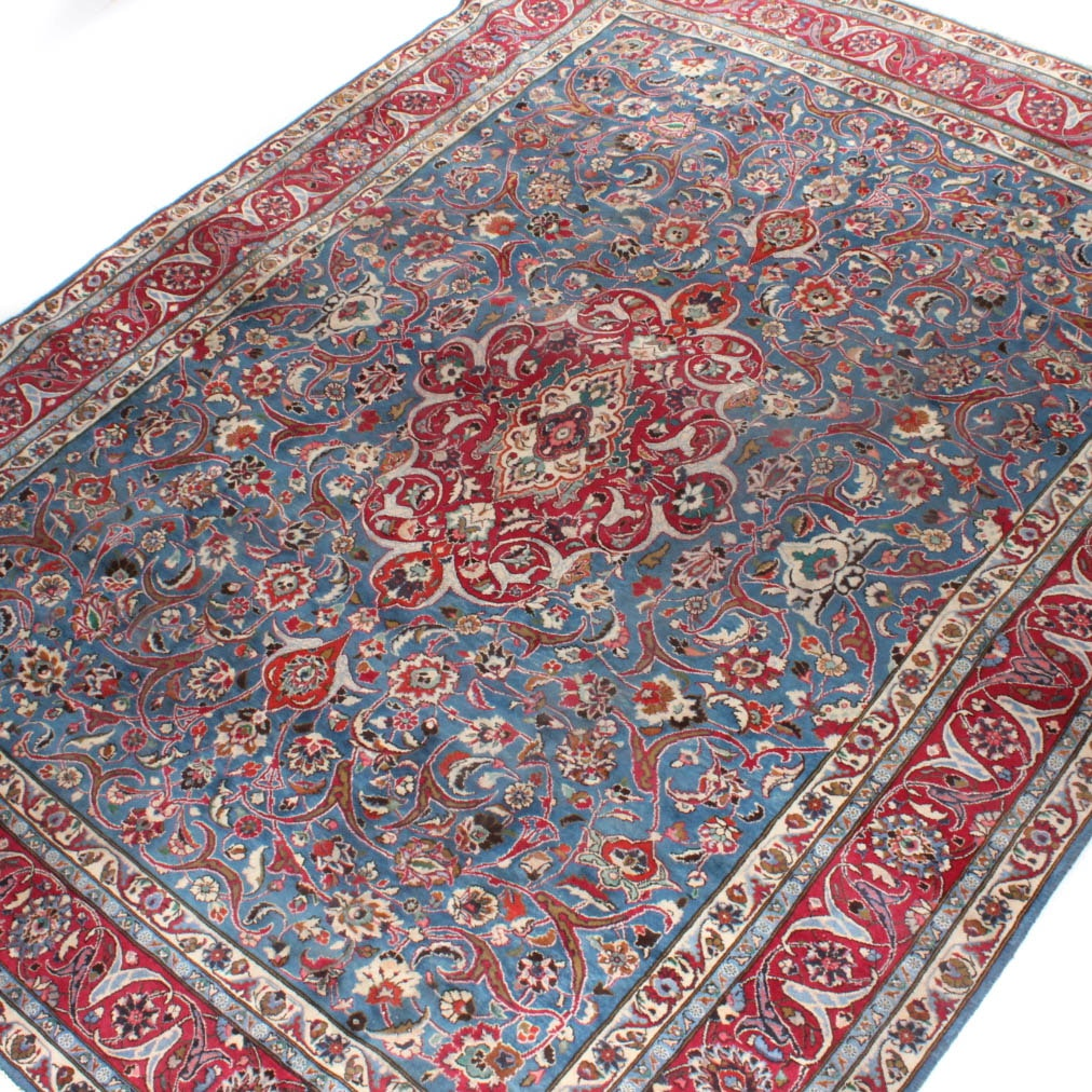 Semi-Antique Hand Knotted Persian Mashhad Room Size Rug