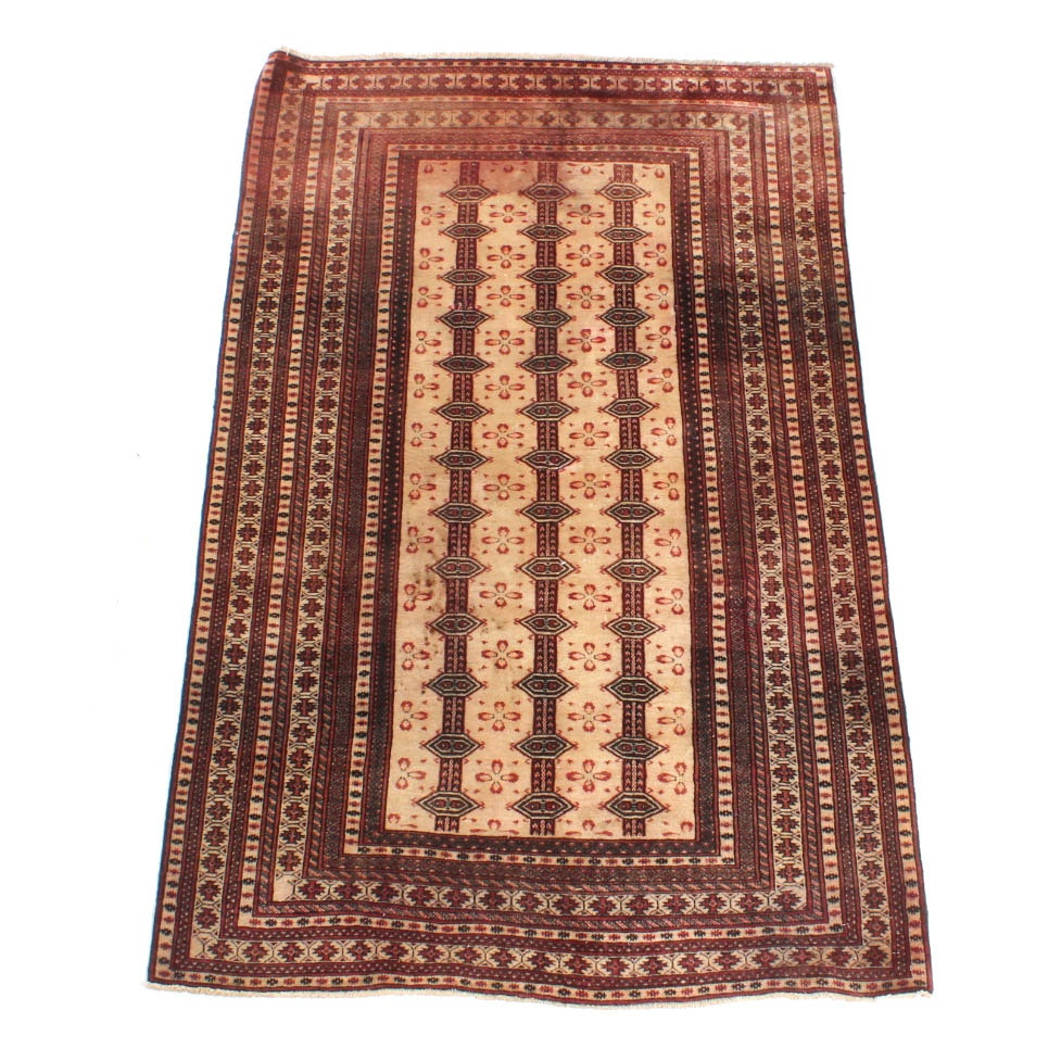 Vintage Hand Knotted Persian Qashqai Area Rug