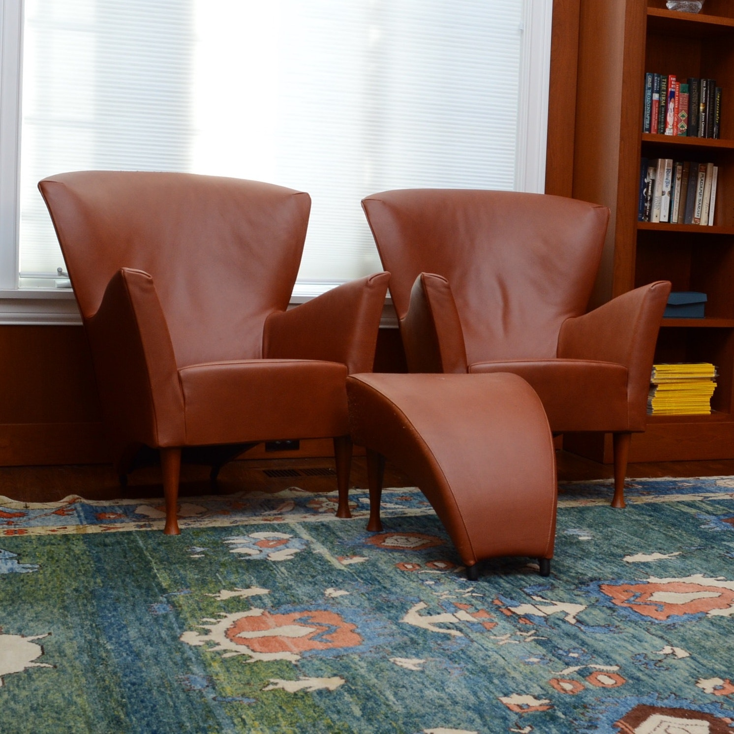 Pair of Contemporary Leather Chairs with Footstool