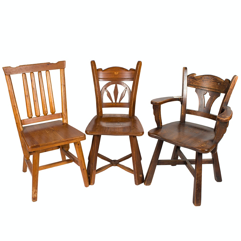 Pair of Romweber Chairs and Rustic Side Chair