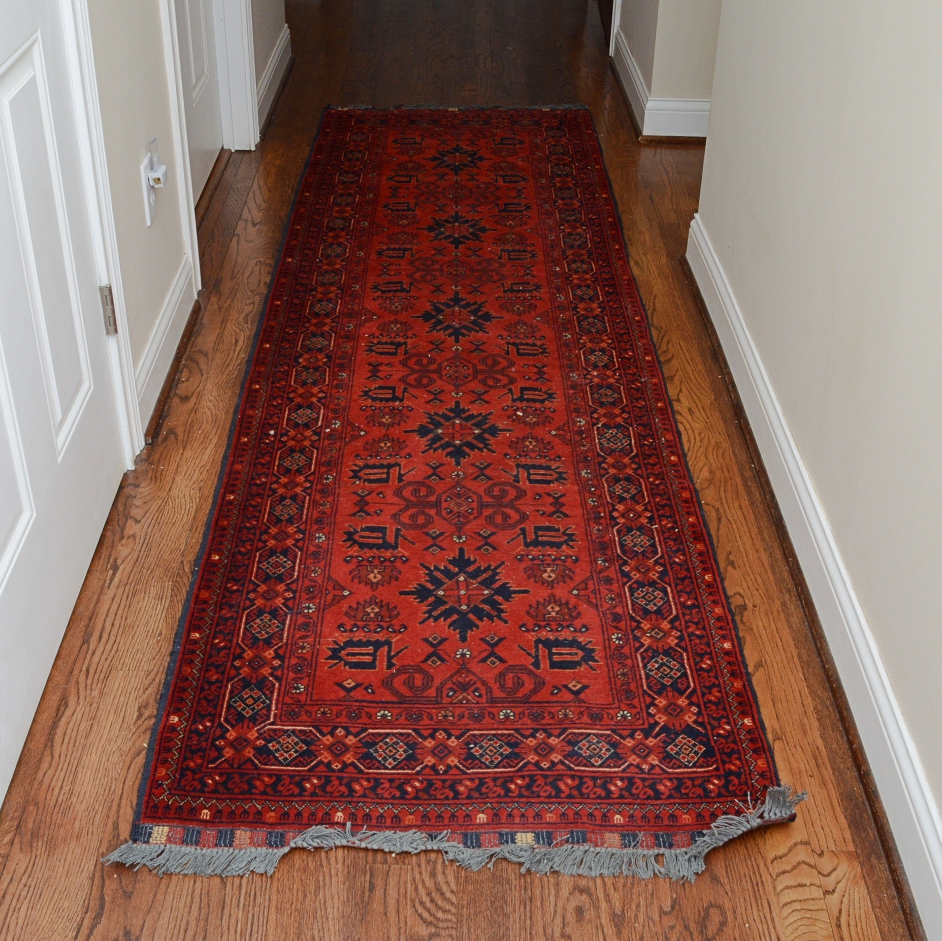Hand-Knotted Afghani Turkish Carpet Runner