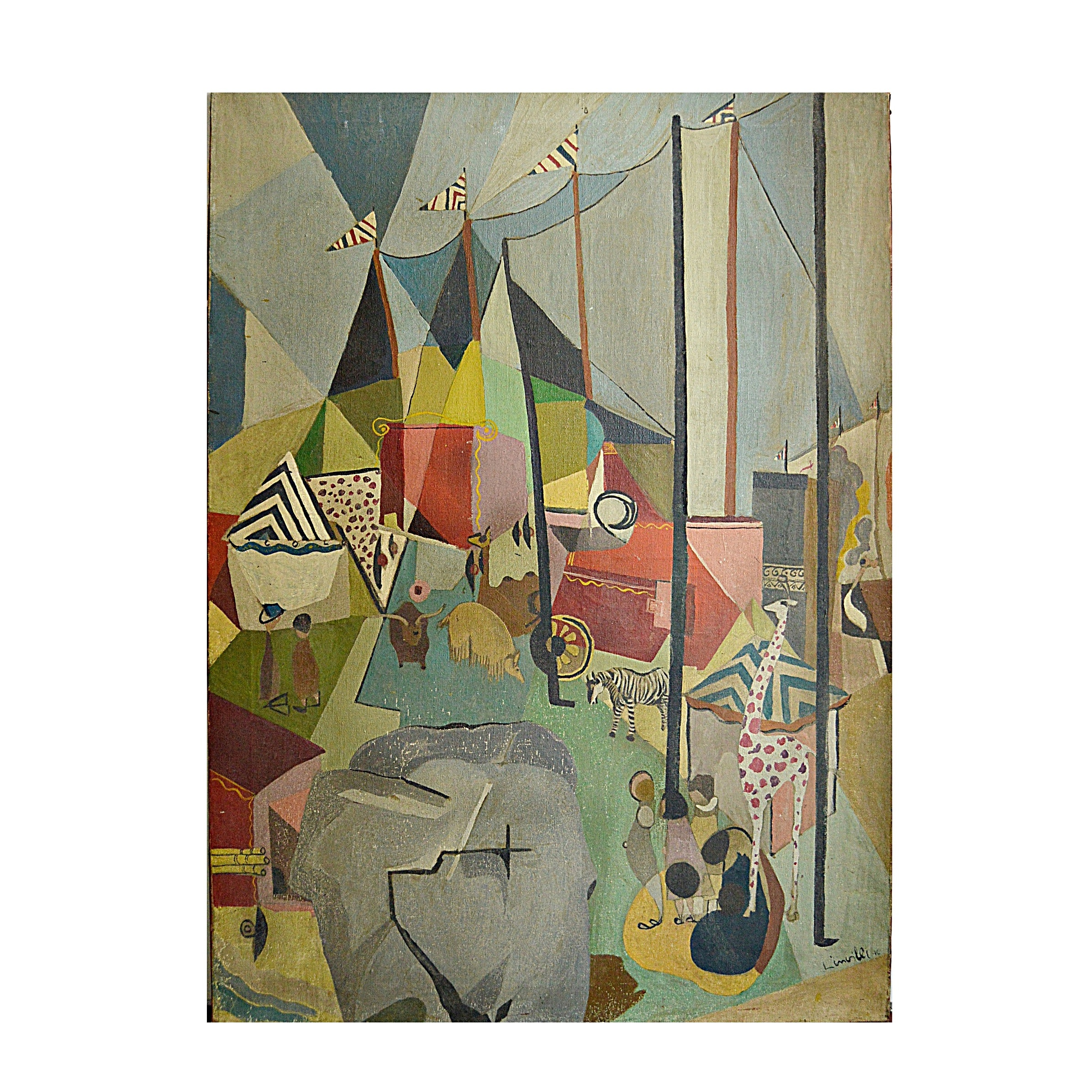 1946 Linnilli Cubist Style Oil on Canvas Circus Painting