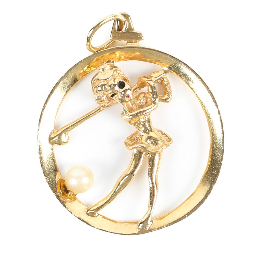 14k yellow gold and pearl golf pendant ebth 14k yellow gold and pearl golf pendant aloadofball Images