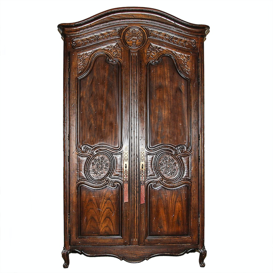 louis xv style oak armoire ebth. Black Bedroom Furniture Sets. Home Design Ideas