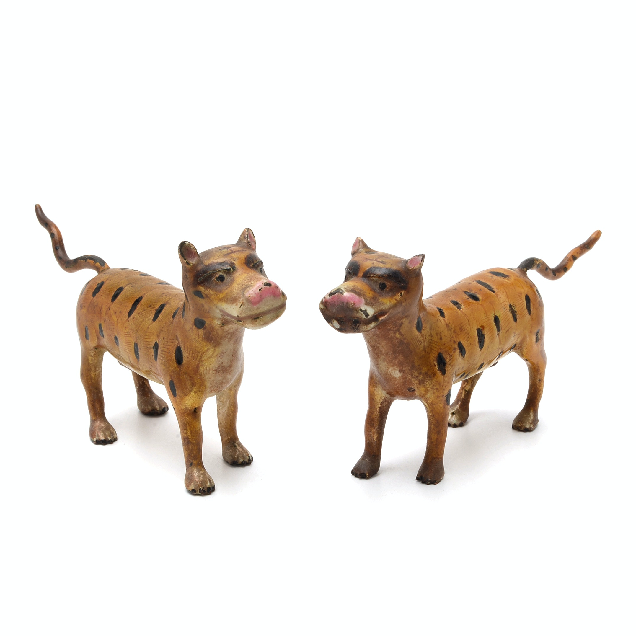 Pair Of Folk Style Hand Decorated Metal Leopards