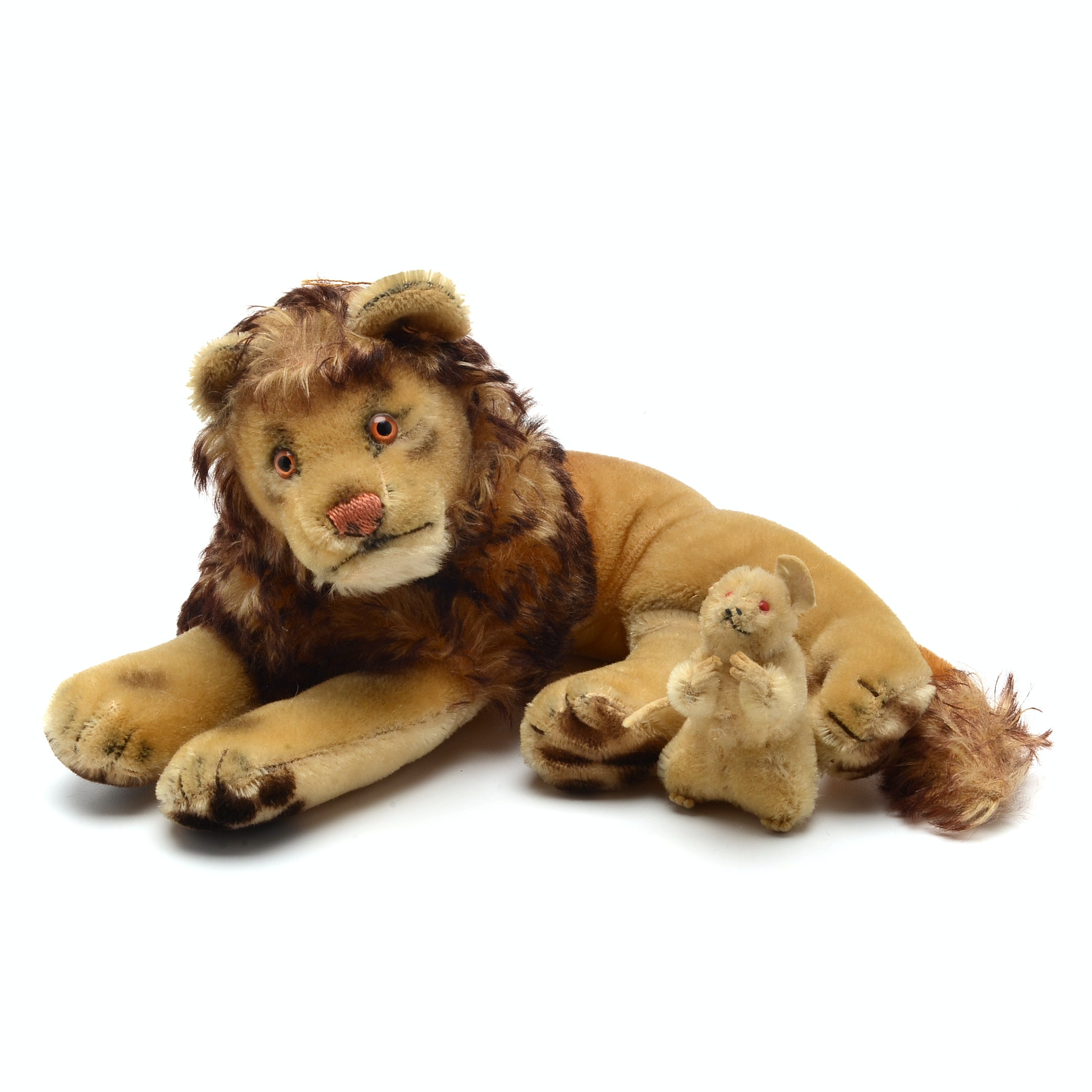 "1950's Era Steiff ""Leo"" the Lion and The  White Mouse"