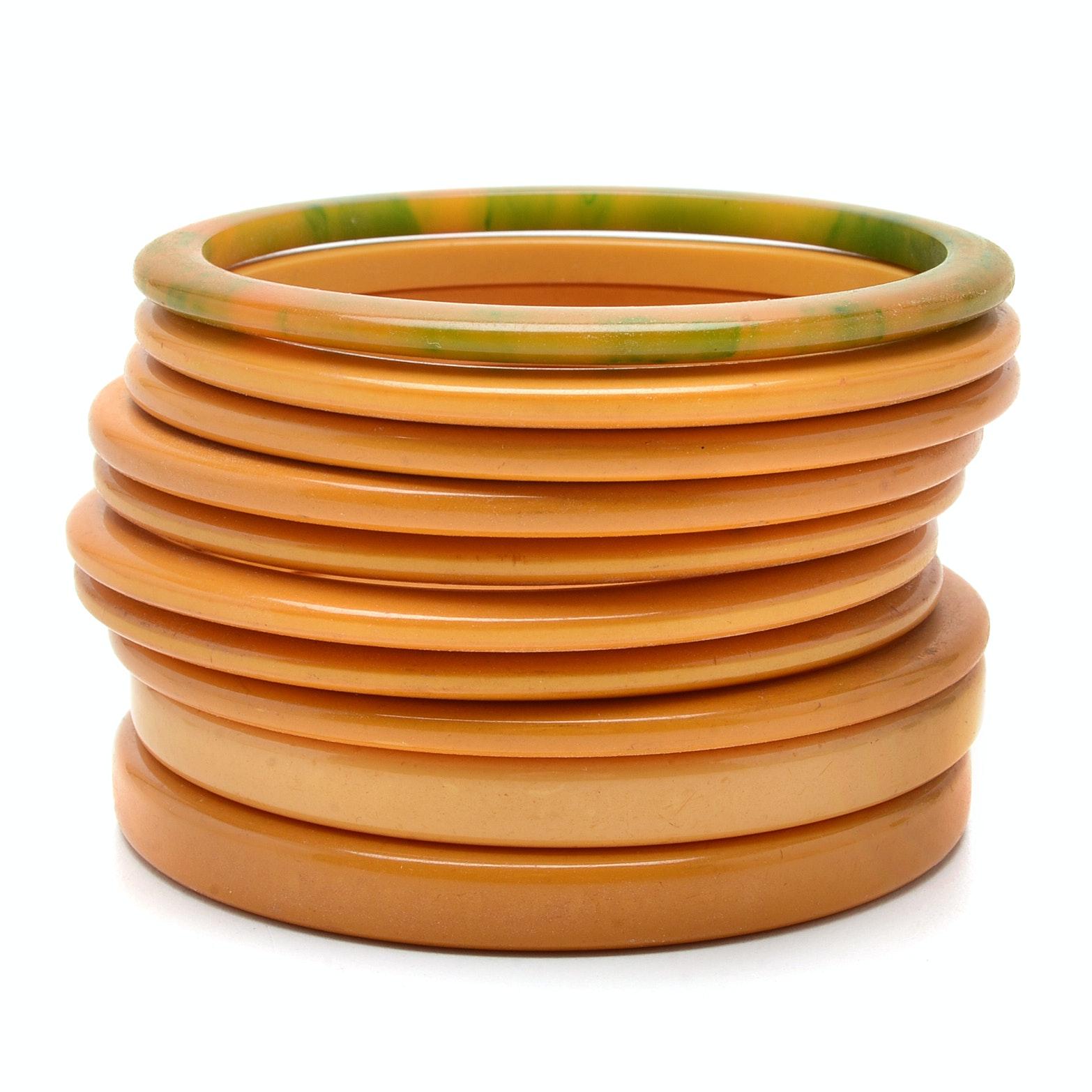 Ten Bakelite Bangle Bracelets