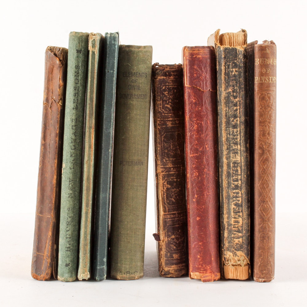 Antique Grammar, Arithmetic and Poetry Books