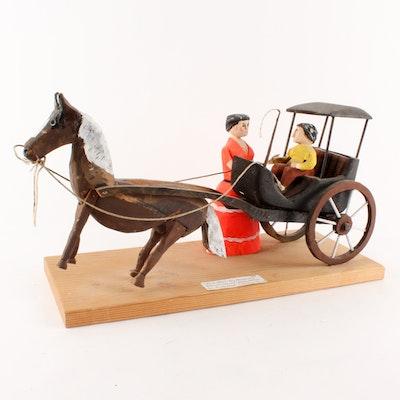 """Doug Miller Painted Wood Sculpture """"Rich Man"""""""