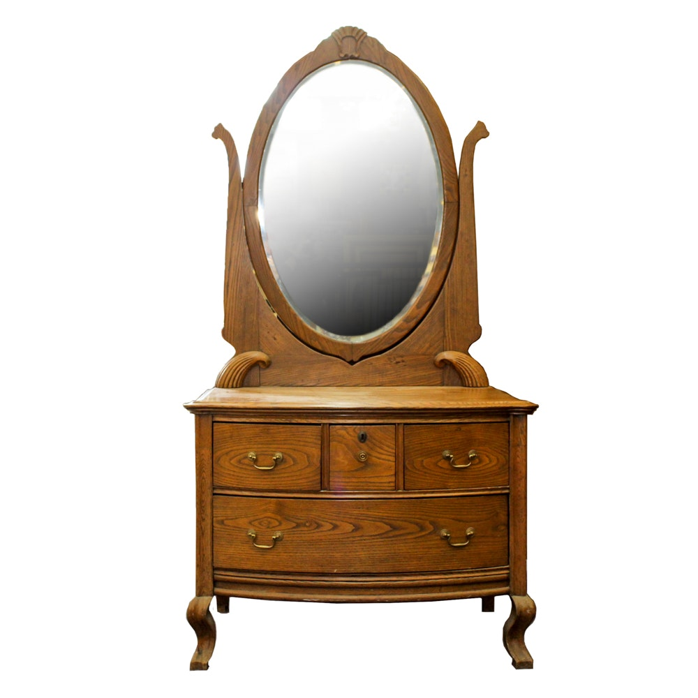 Antique Victorian Oak Dresser with Mirror