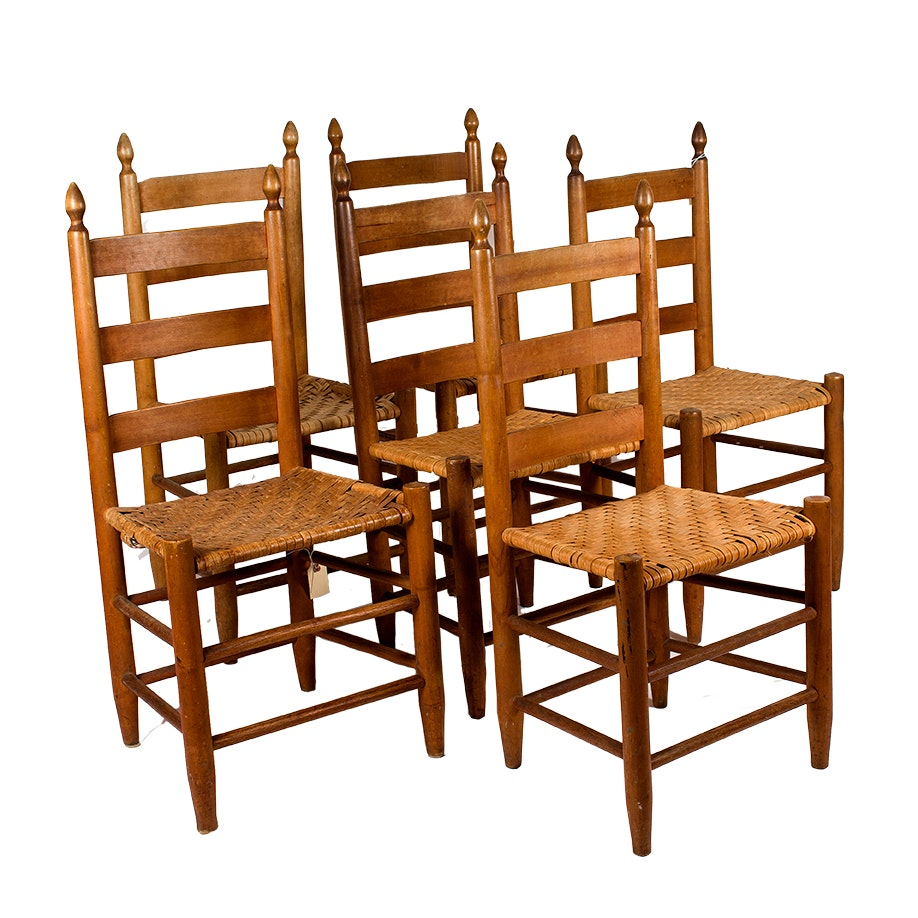 Shaker Style Ladderback Chairs with Woven Seats