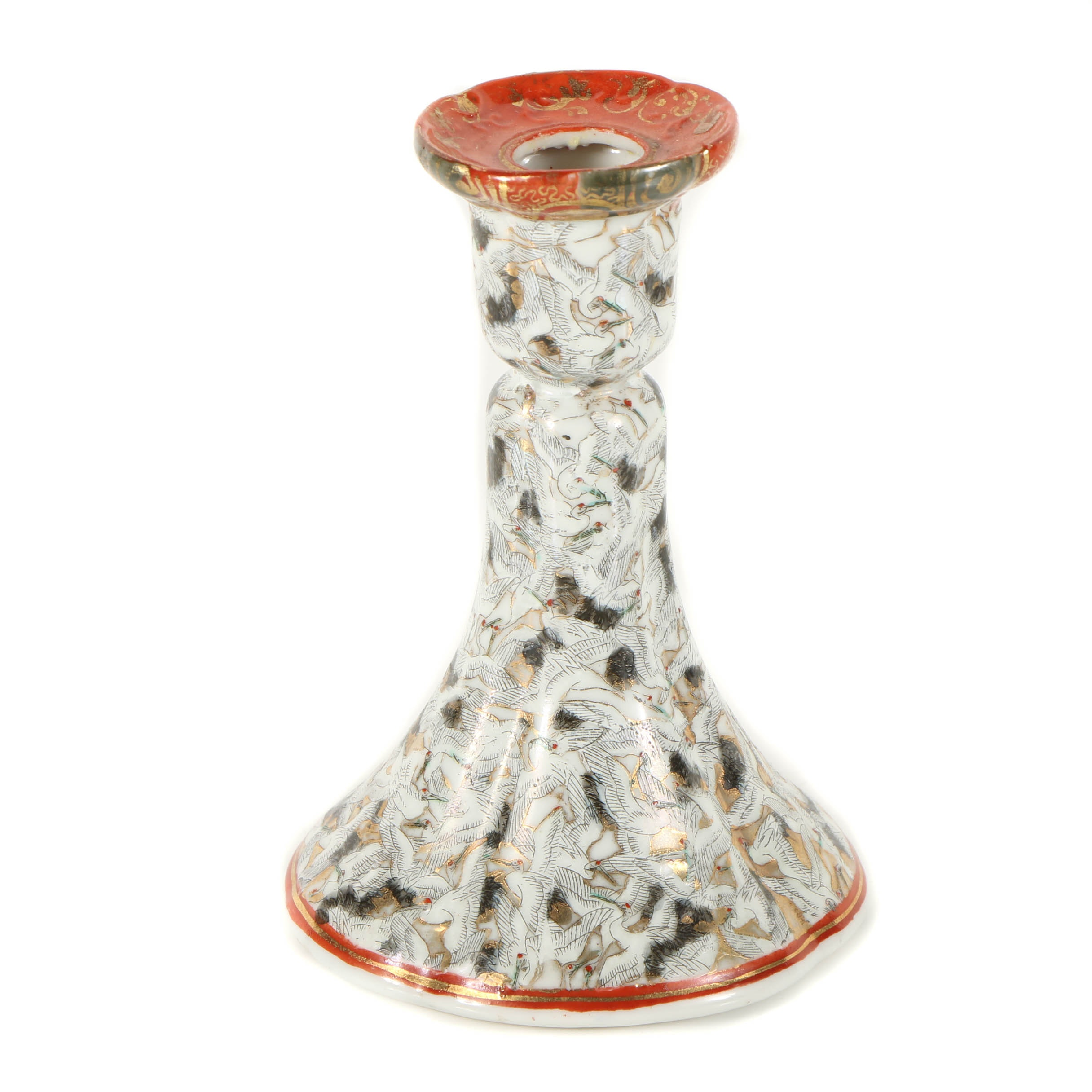 Japanese Porcelain Candlestick Holder with Crane Motif