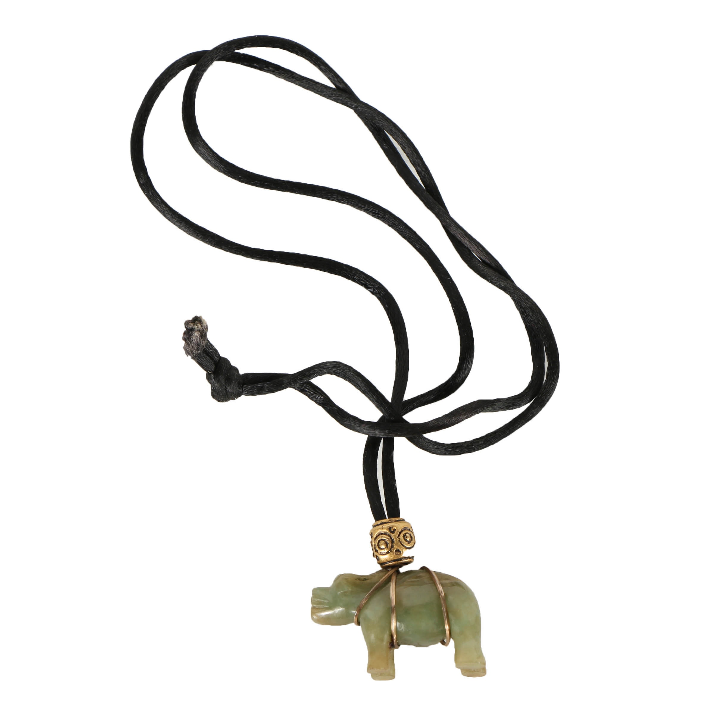 Chinese Carved Nephrite Ox Pendant Necklace