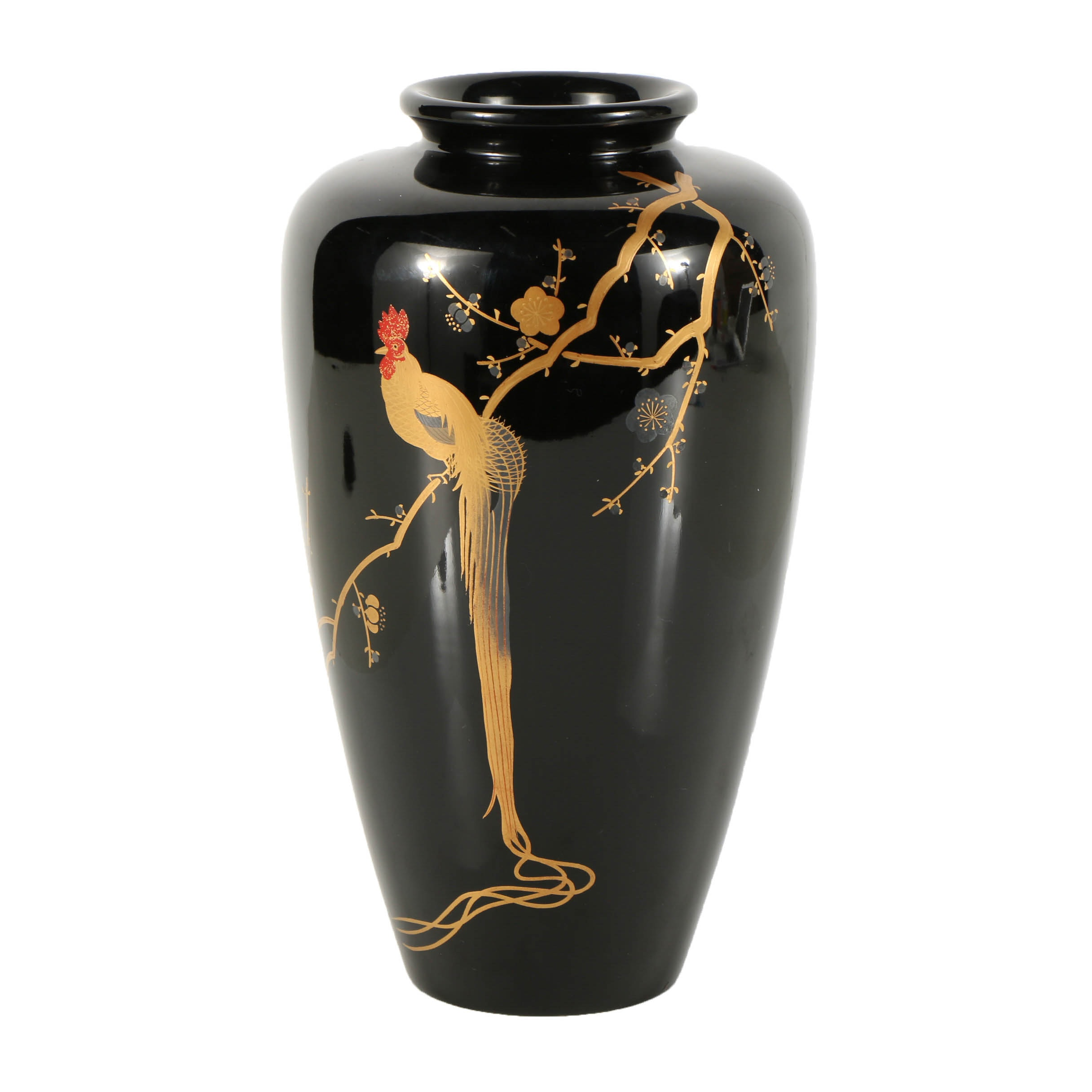 Japanese Hand-Painted Lacquered Wood Vase