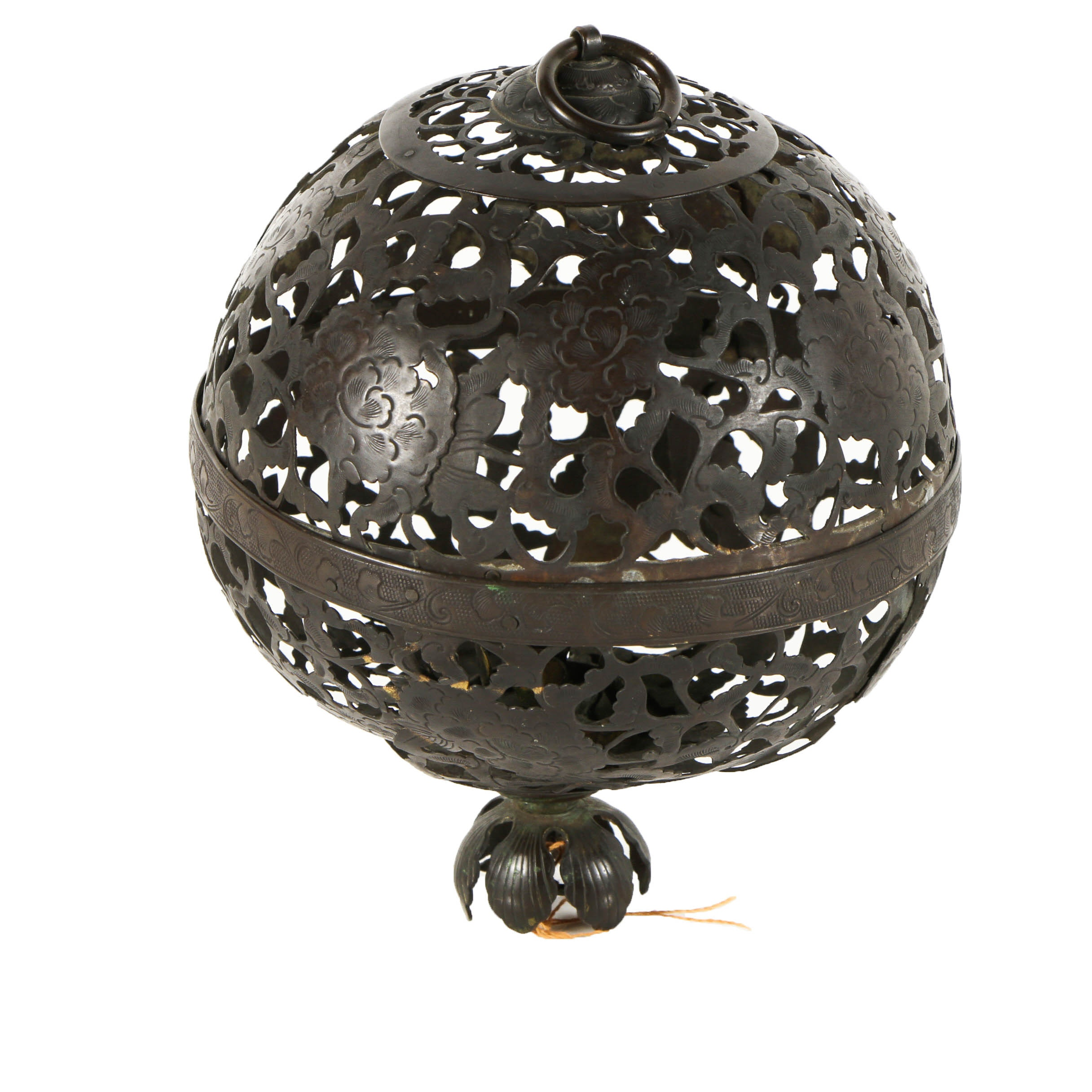 Japanese Pierced Brass Ball with Chrysanthemum Motif