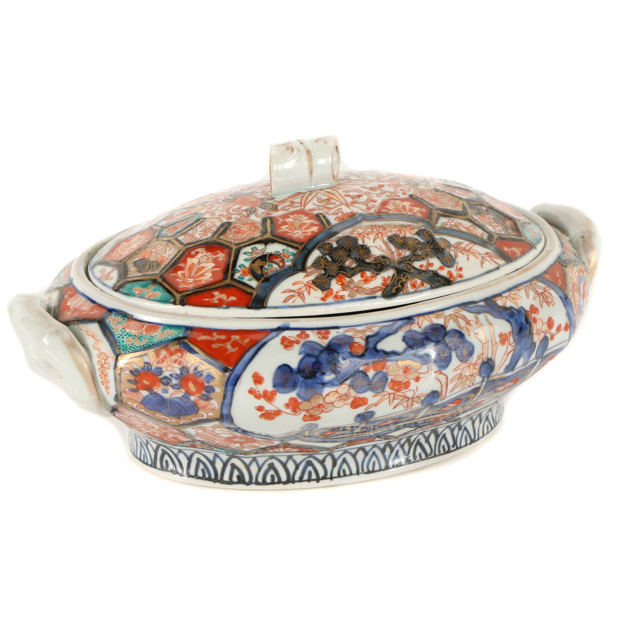 Japanese Lidded Porcelain Bowl with Floral and Bamboo Motif
