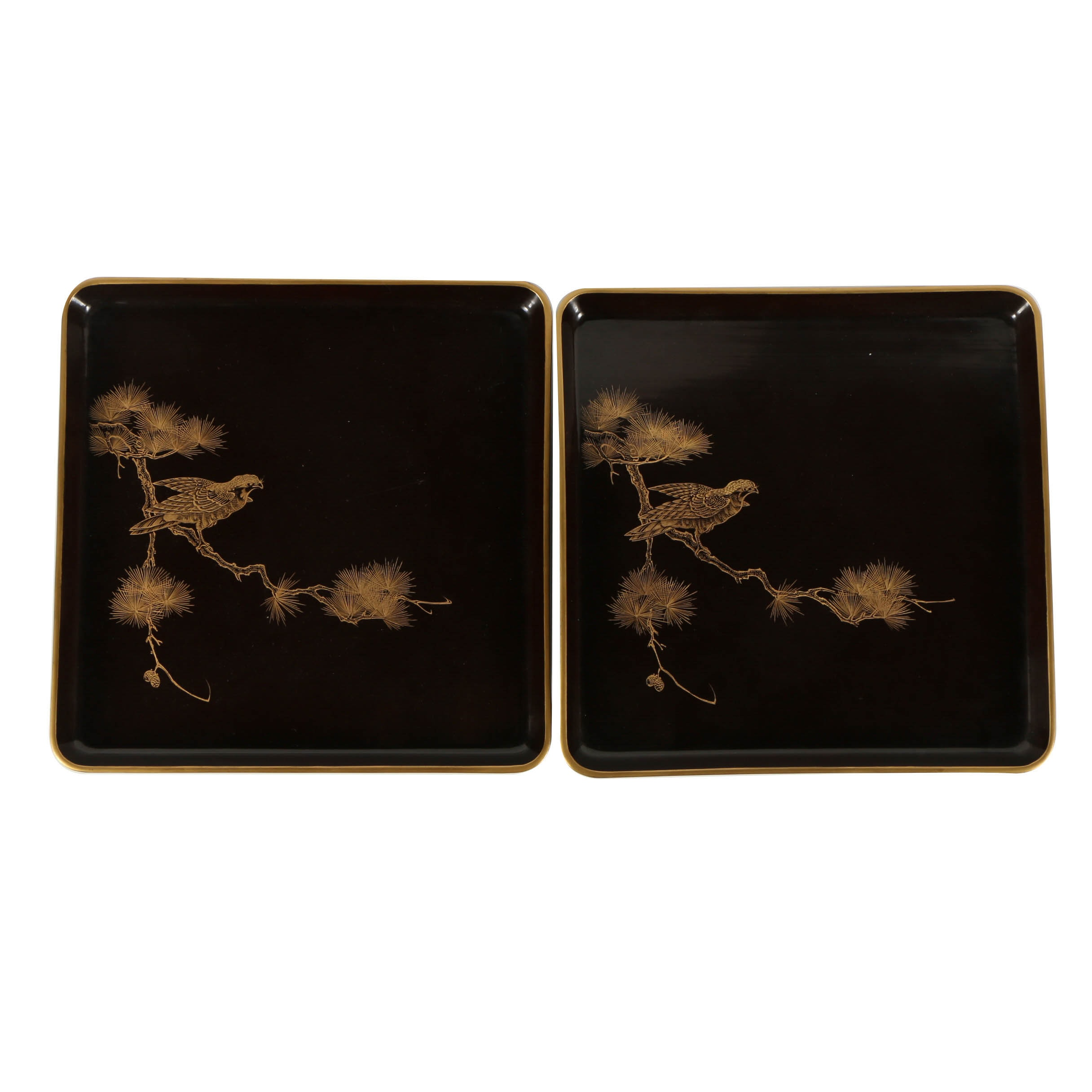 Japanese Lacquered Wood Trays with a Falcon Motif