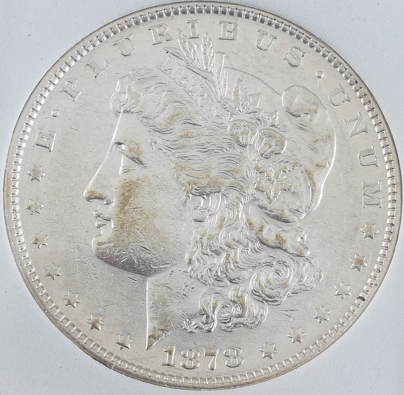 First Year of Issue 1878 Silver Morgan Dollar 7 Tail Feathers Reverse Variety