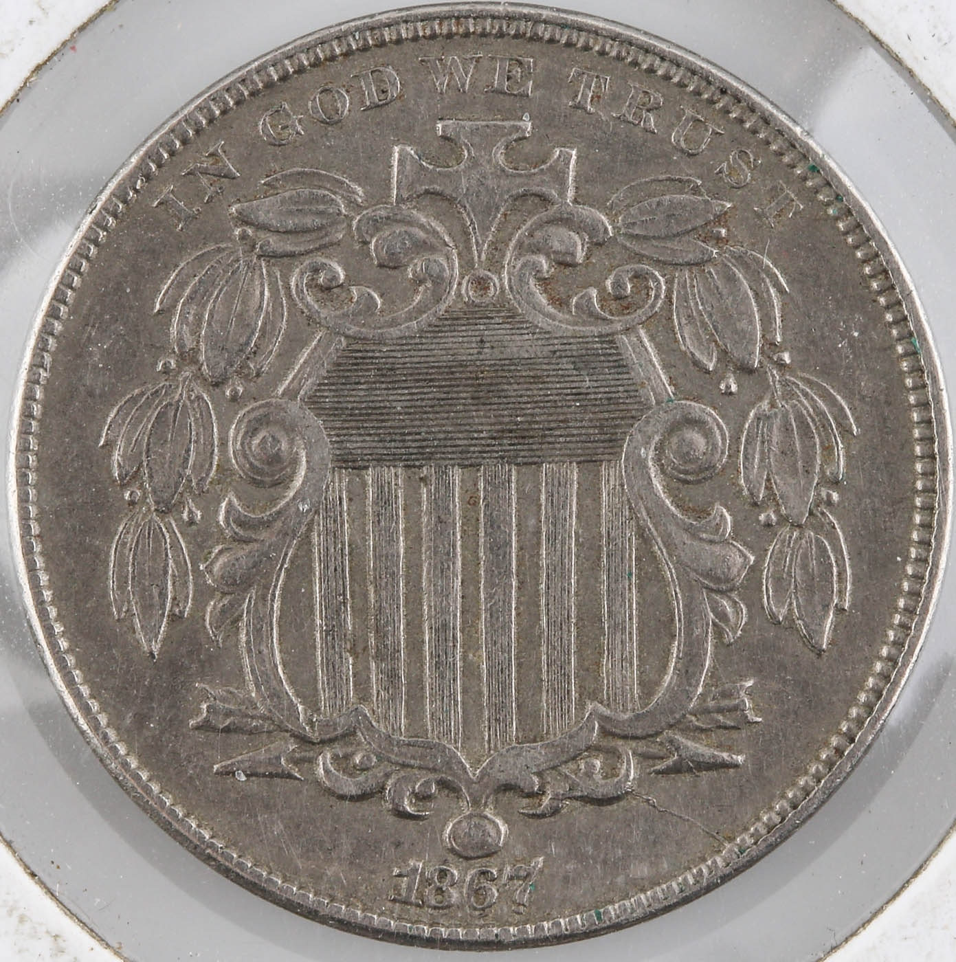 1867 Shield Nickel Without Rays