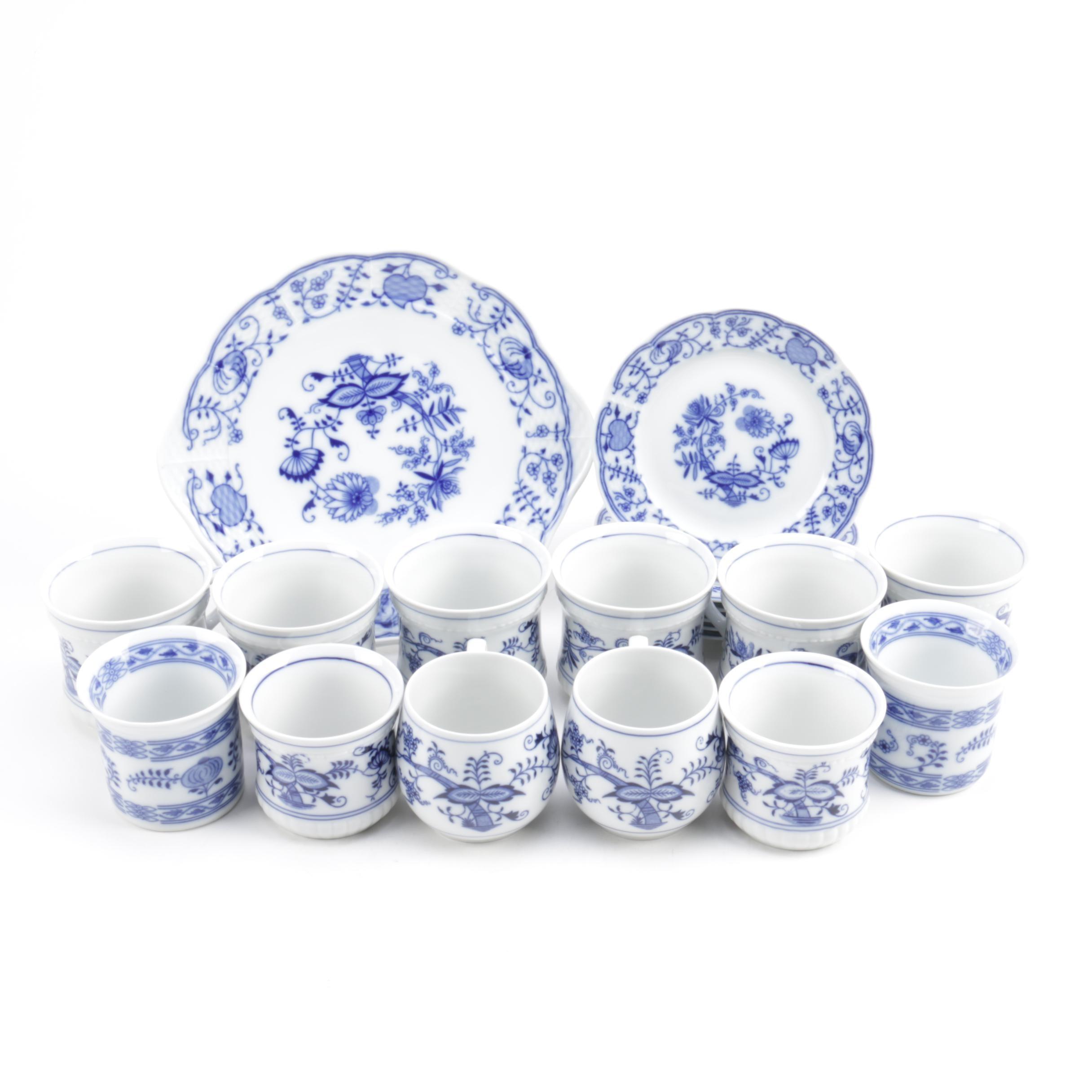 "Vintage Duchcov and Thun ""Blue Onion"" Porcelain Tableware"