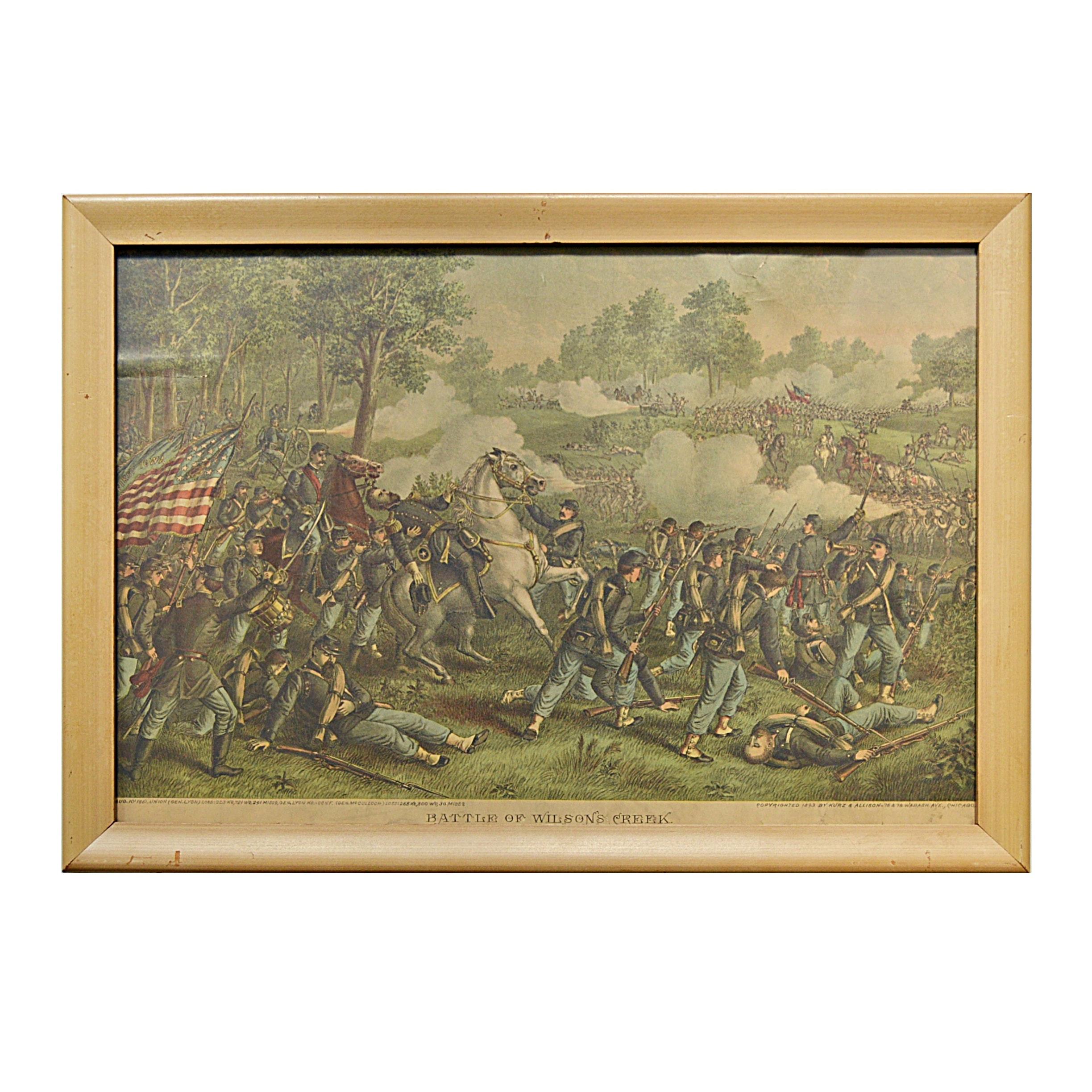 """1893 Kurz & Allison Civil War Chromolithograph """"Battle of Wilson's Creek"""""""