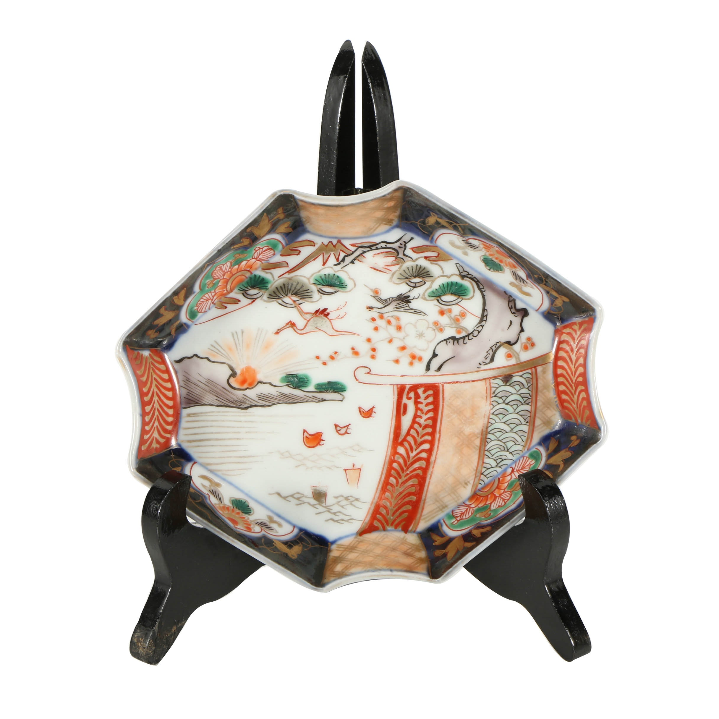 Japanese Imari Porcelain Plate with Lacquered Wood Stand
