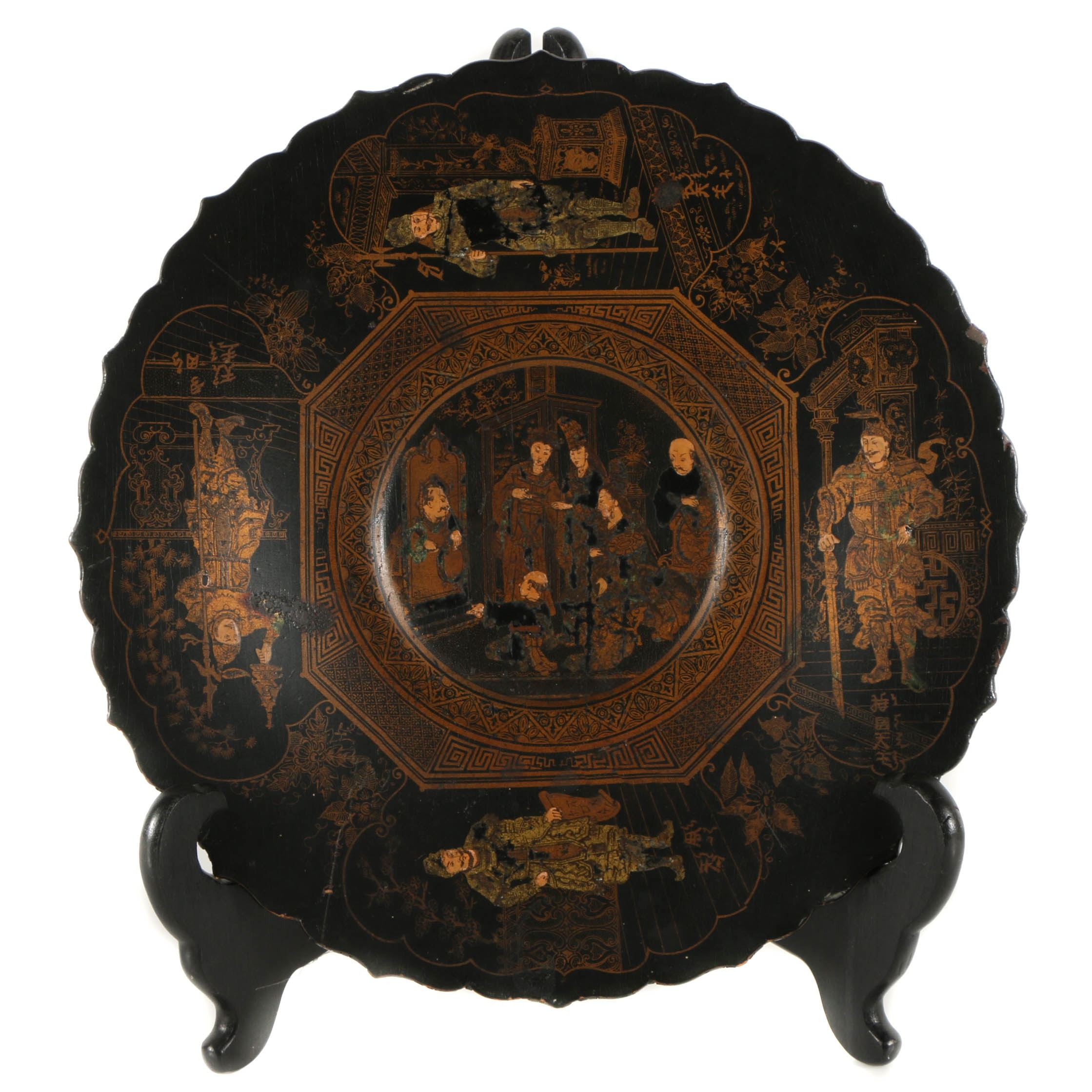 Japanese Lacquered Wood Plate with Feudal Era Scene