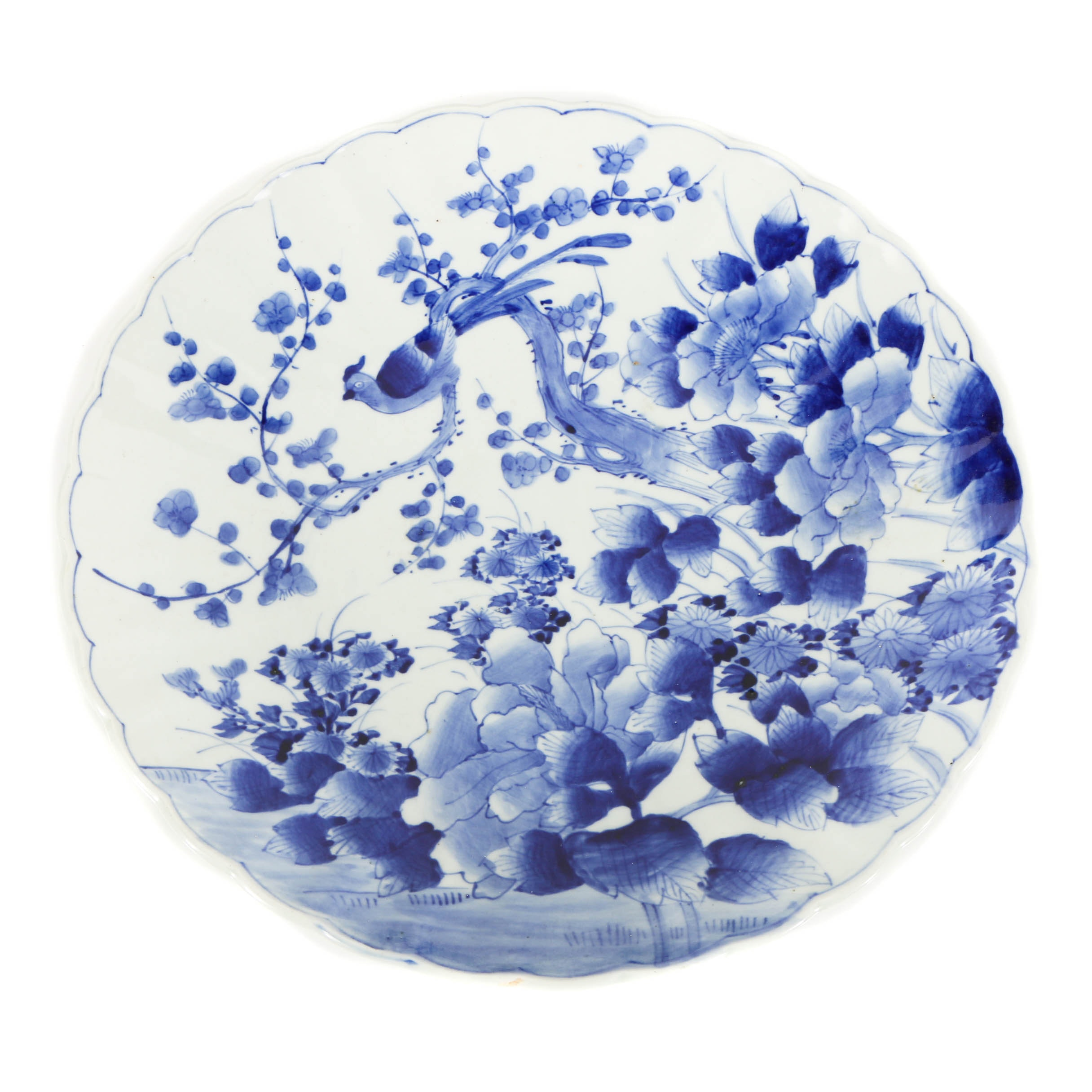 Japanese Blue and White Porcelain Plate with Bird and Flower Motif