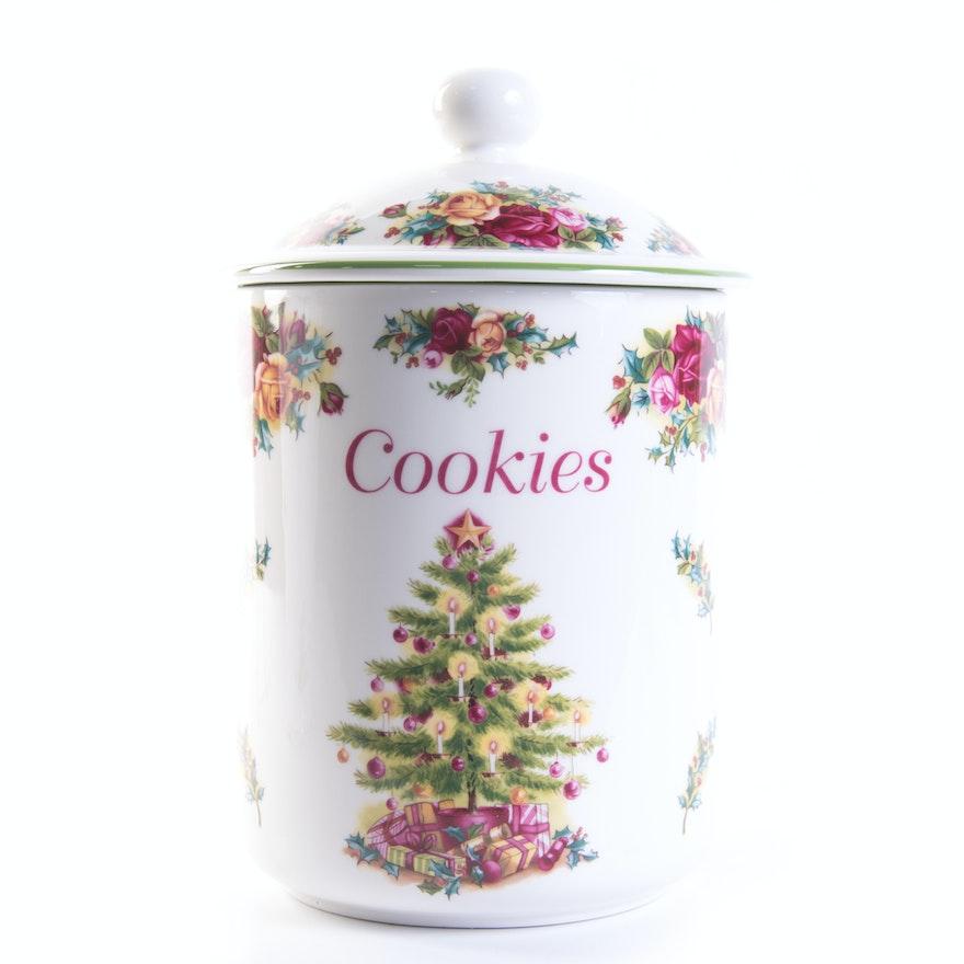 Royal Albert Old Country Roses Christmas Cookie Jar