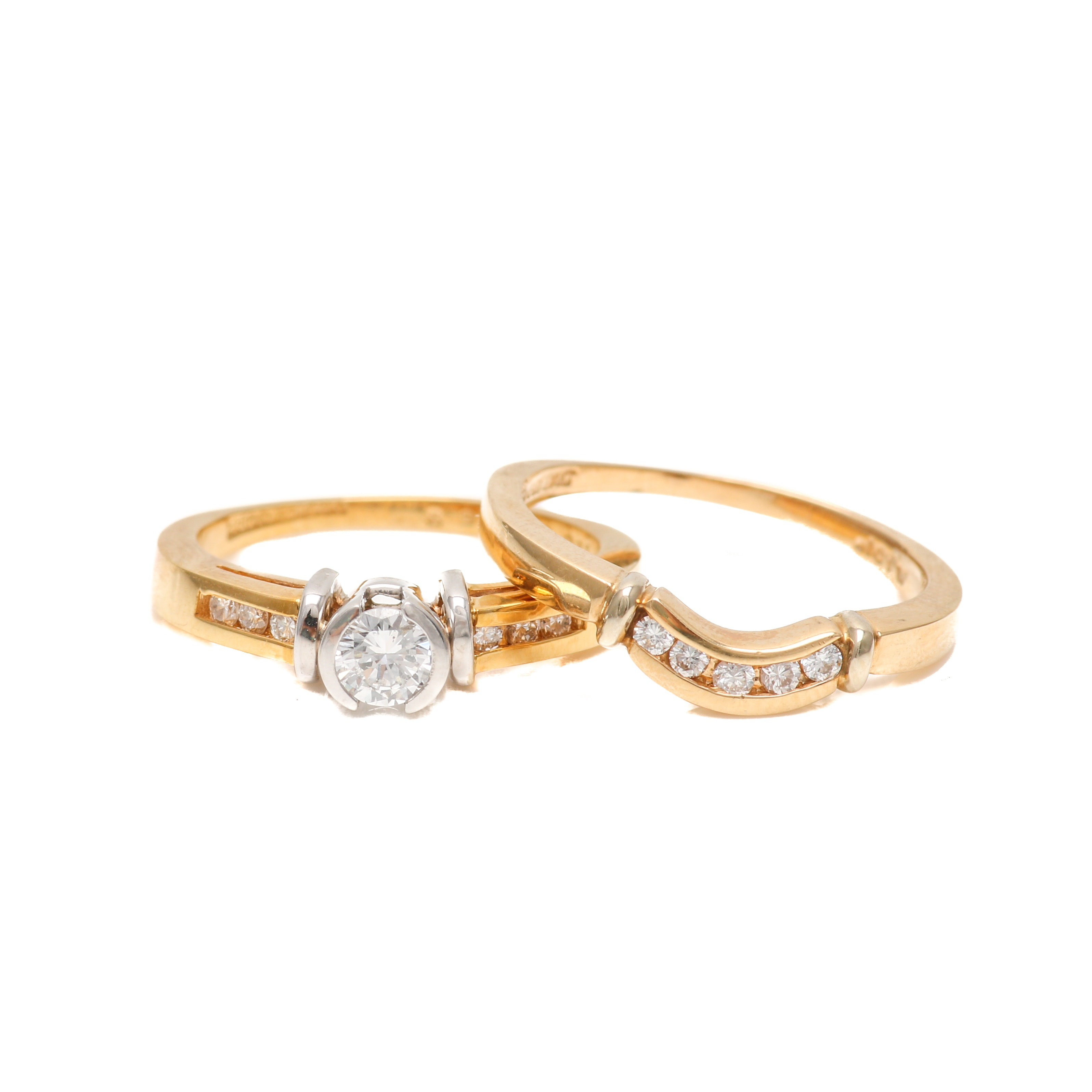 14K Two Tone Gold Diamond Ring Set