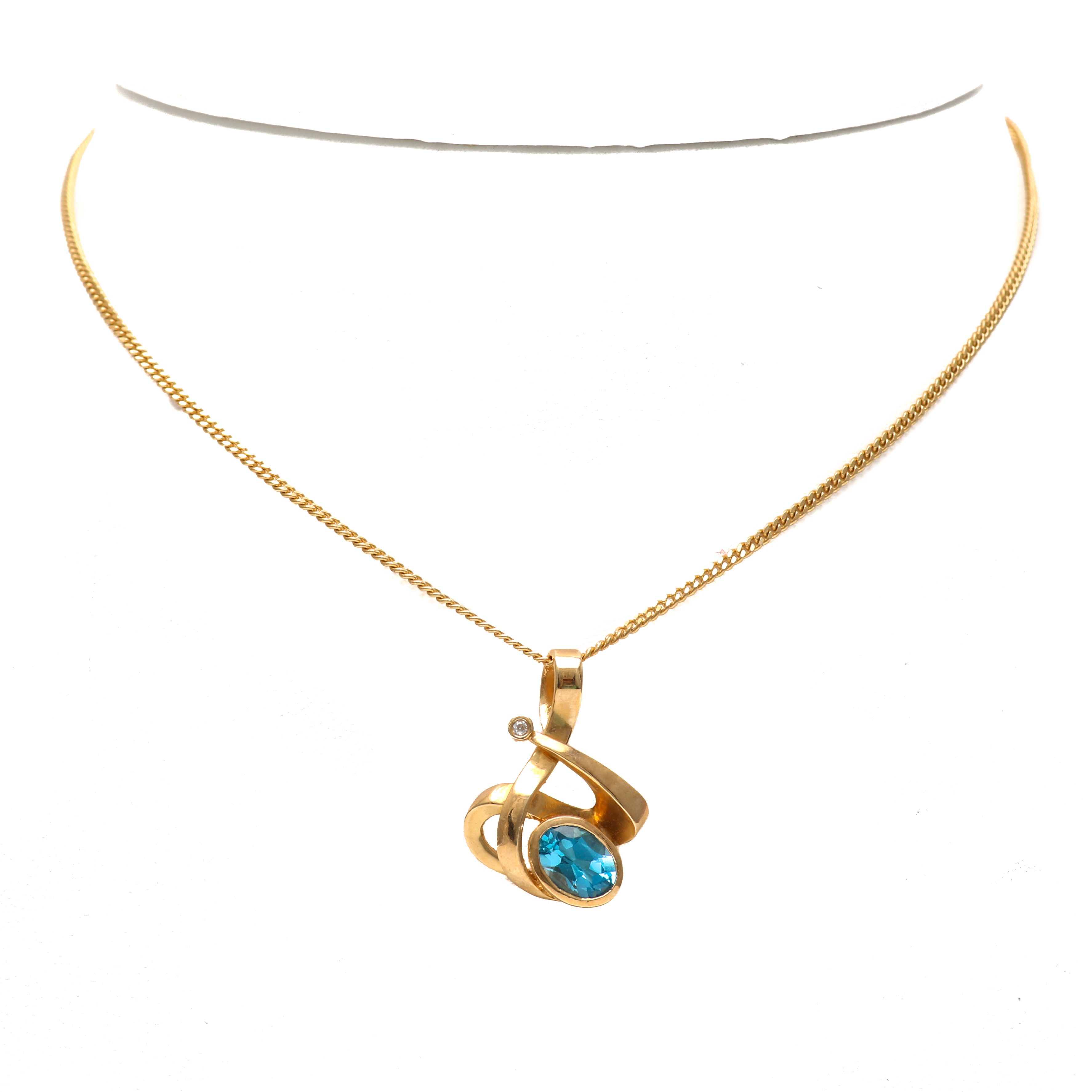 14K Yellow Gold Blue Topaz and Diamond Pendant Necklace