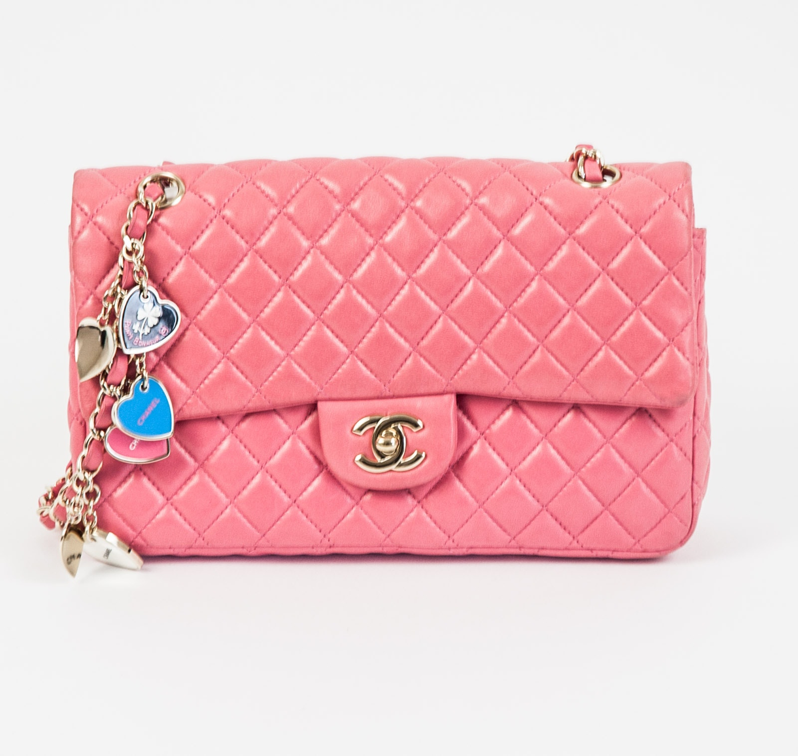 Chanel Pink Lambskin Valentine Charms Flap Bag