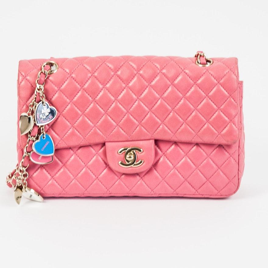 817e47a236a8 Chanel Pink Lambskin Valentine Charms Flap Bag : EBTH