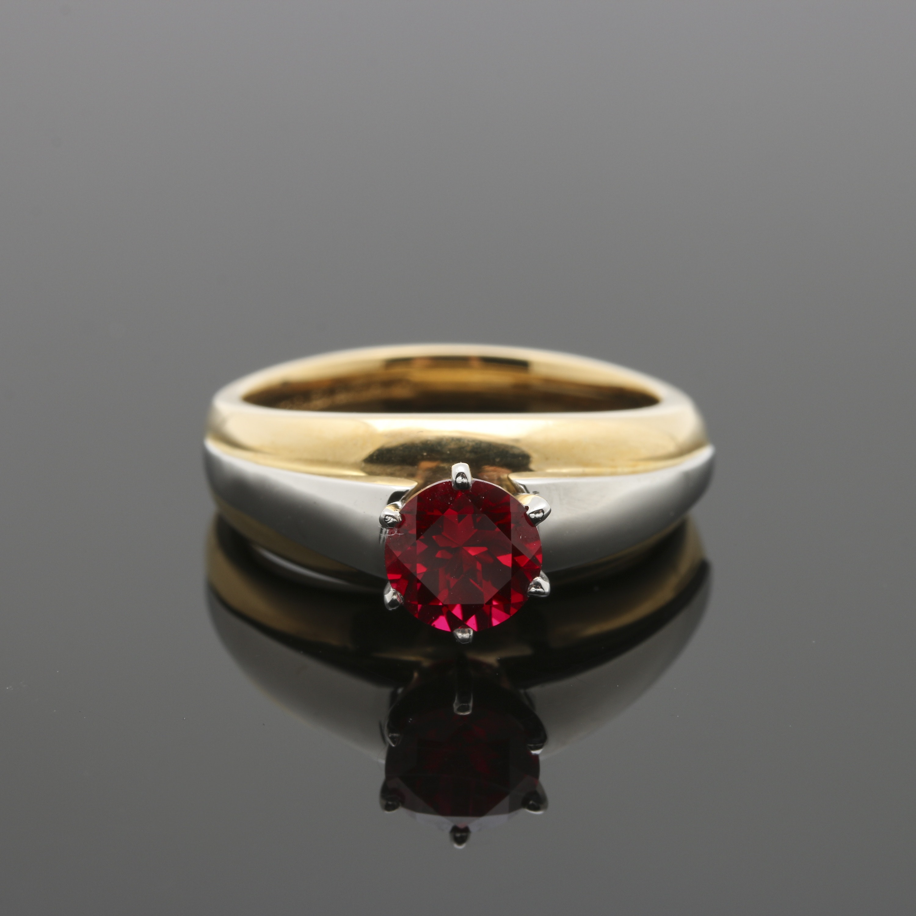18K Yellow Gold Ruby Ring with Platinum Accents