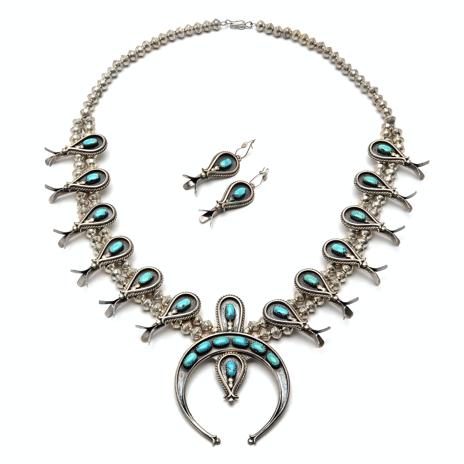 Native American Style 900 Silver Turquoise Squash Blossom Necklace and Earrings