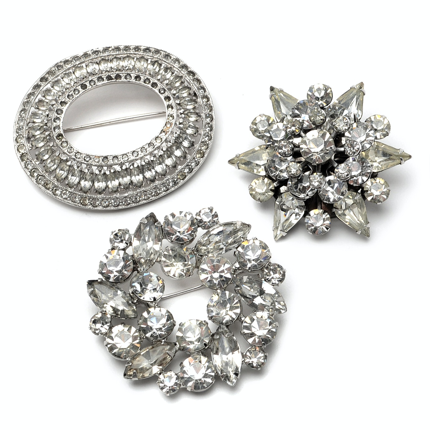 Three Silver-Tone Rhinestone Costume Brooches Including Weiss