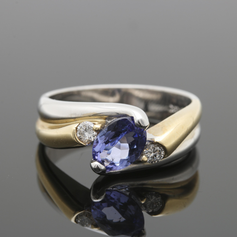 14K White and Yellow Gold Tanzanite and Diamond Bypass Ring