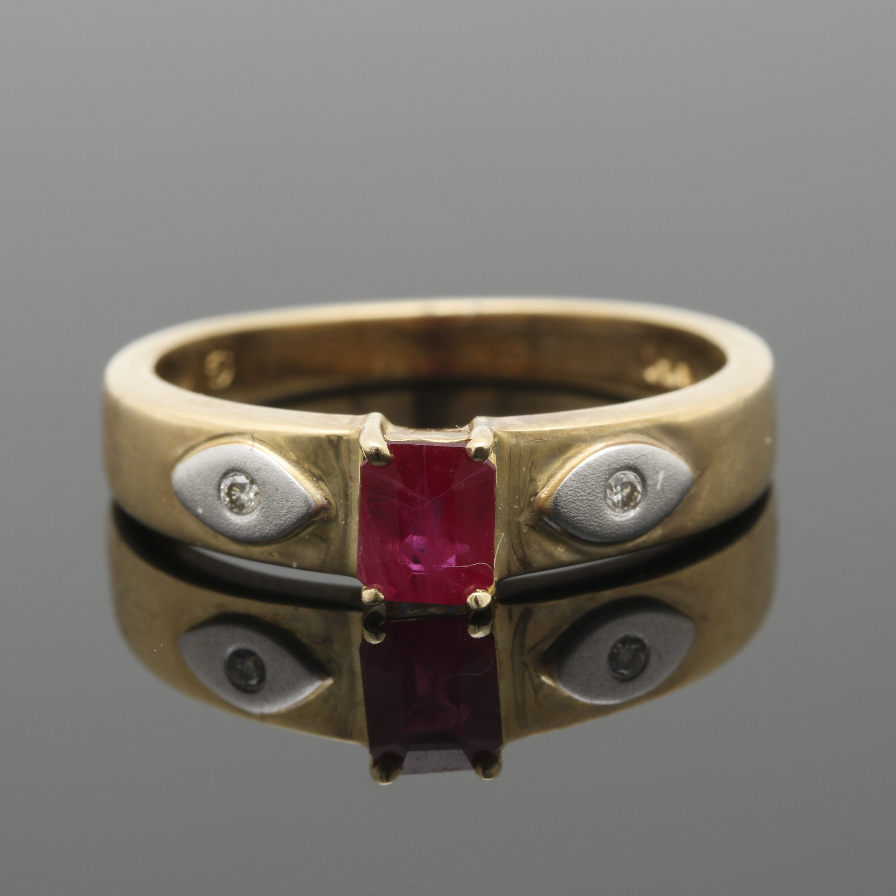 14K Two Tone Gold Ruby and Diamond Ring