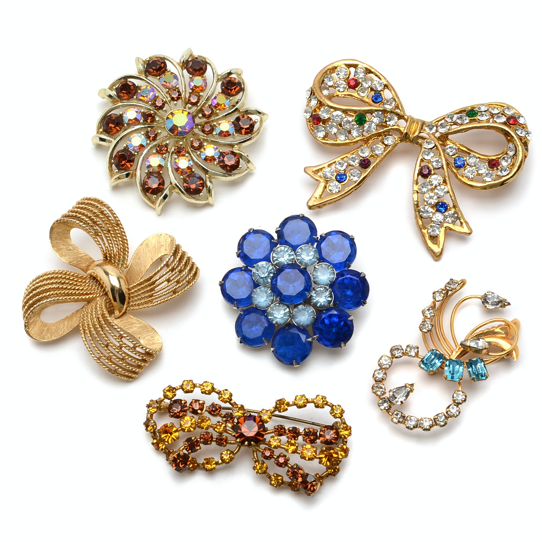 Collection of Six Rhinestone Costume Brooches